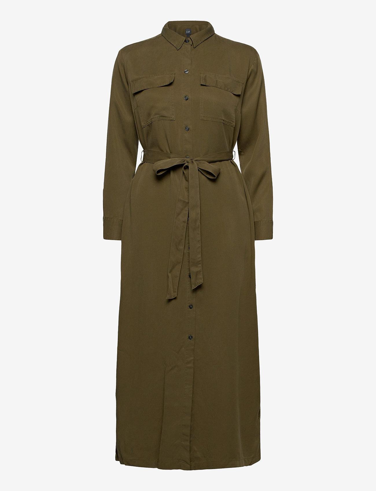 GAP - LS DRAPEY SHRTDRS - midi dresses - ripe olive - 0