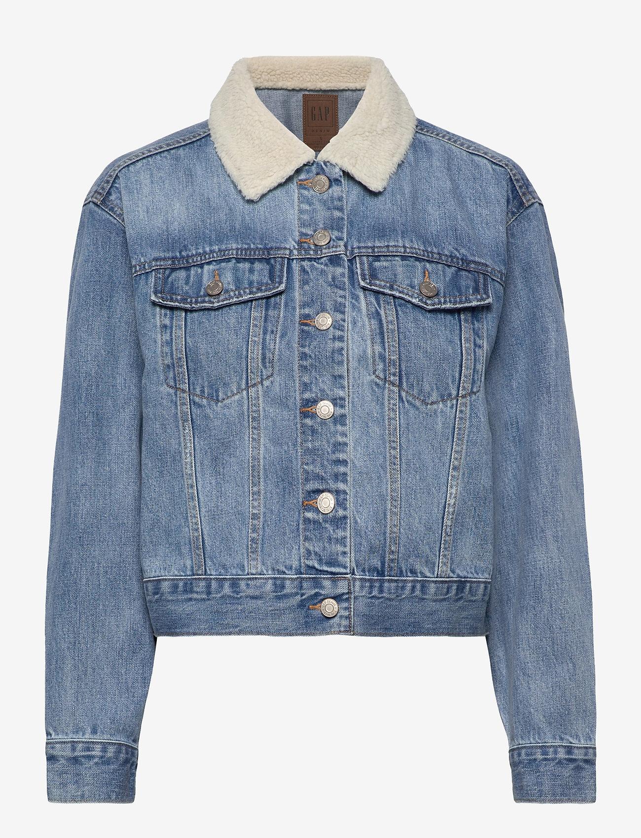 GAP - Dolman Denim Sherpa Icon Jacket - denim jackets - medium indigo 8 - 0