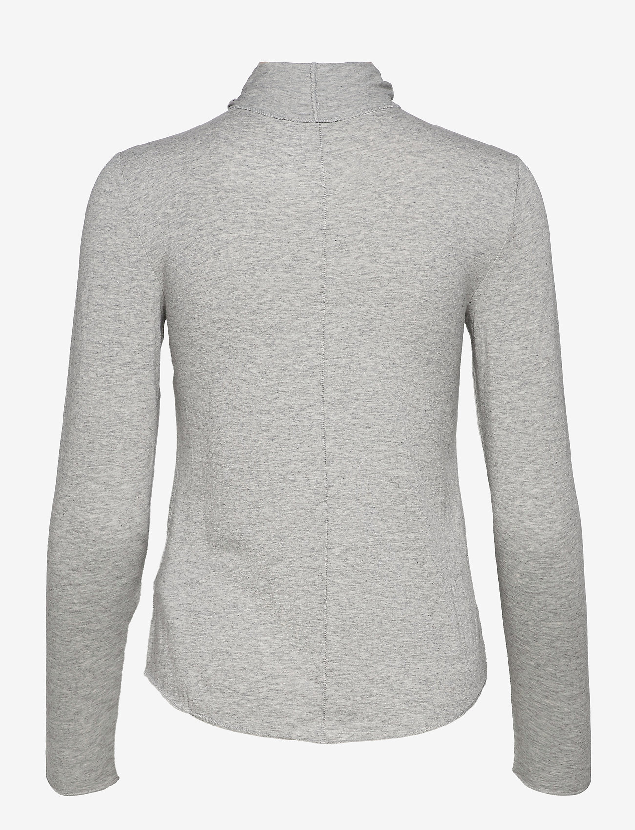 GAP - Fitted Funnel-Neck T-Shirt - long-sleeved tops - heather grey - 1