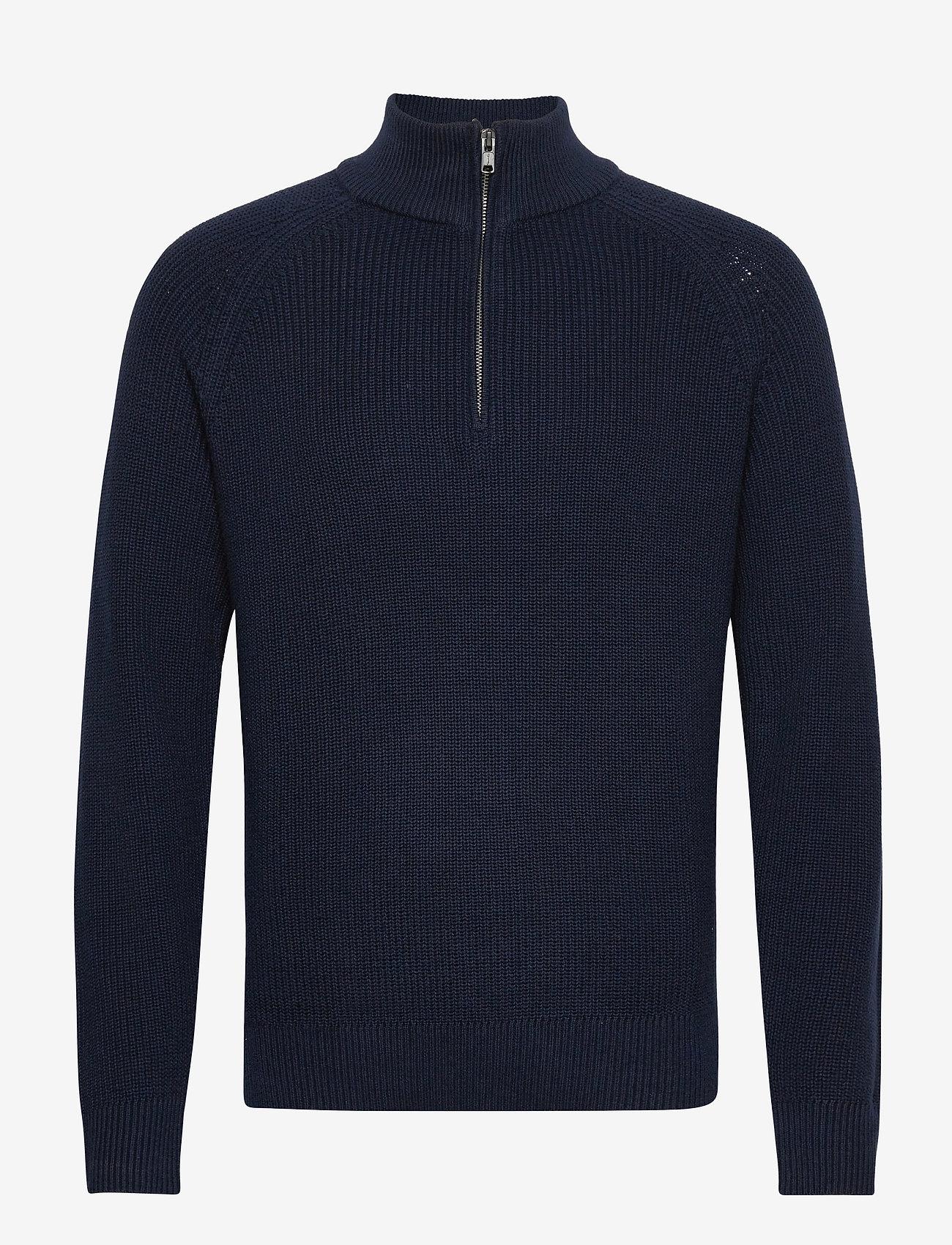 GAP - Mockneck Shaker Sweater - half zip - new classic navy - 0