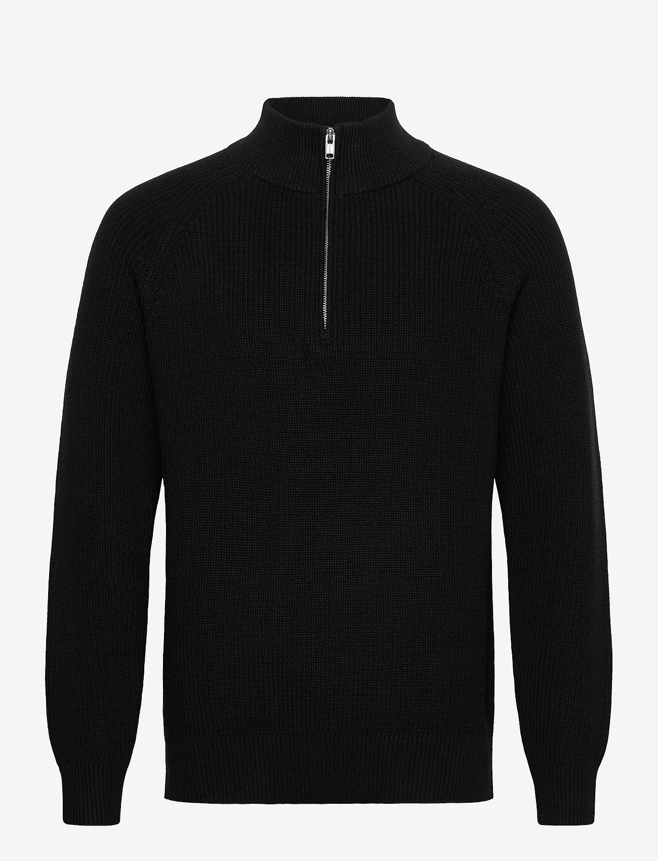GAP - Mockneck Shaker Sweater - half zip - true black v2 - 0