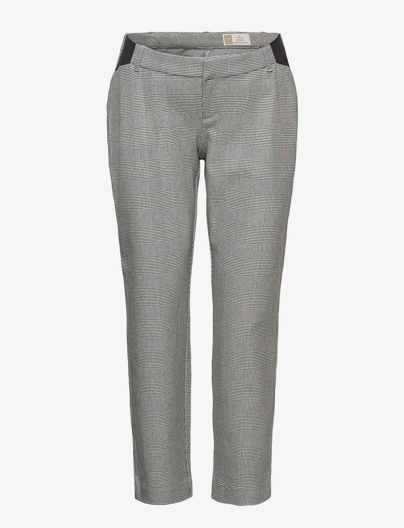 GAP - Maternity Inset Panel Slim Ankle Pants - slim fit trousers - grey plaid - 0