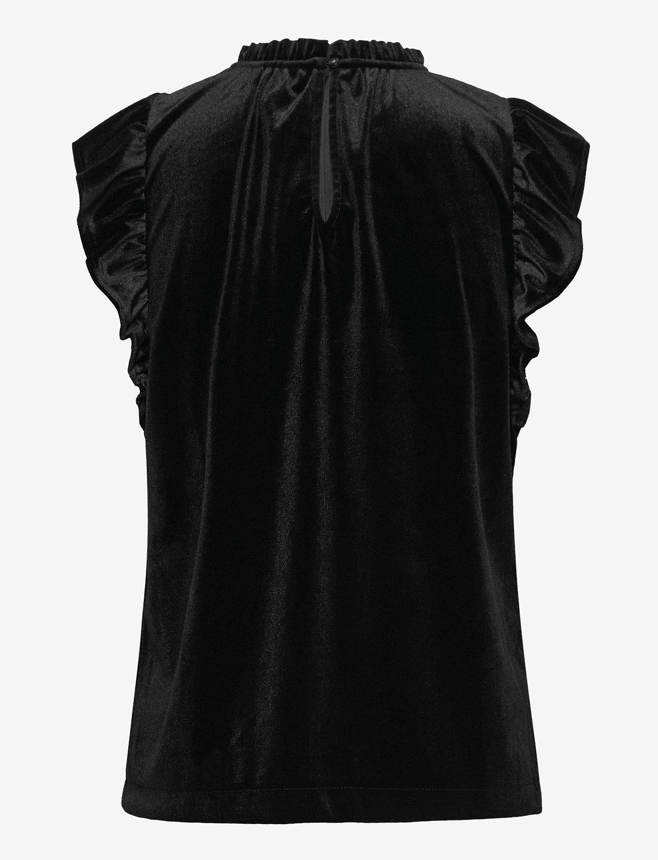 GAP - Sleeveless Velvet Ruffle Top - Ærmeløse bluser - true black - 1