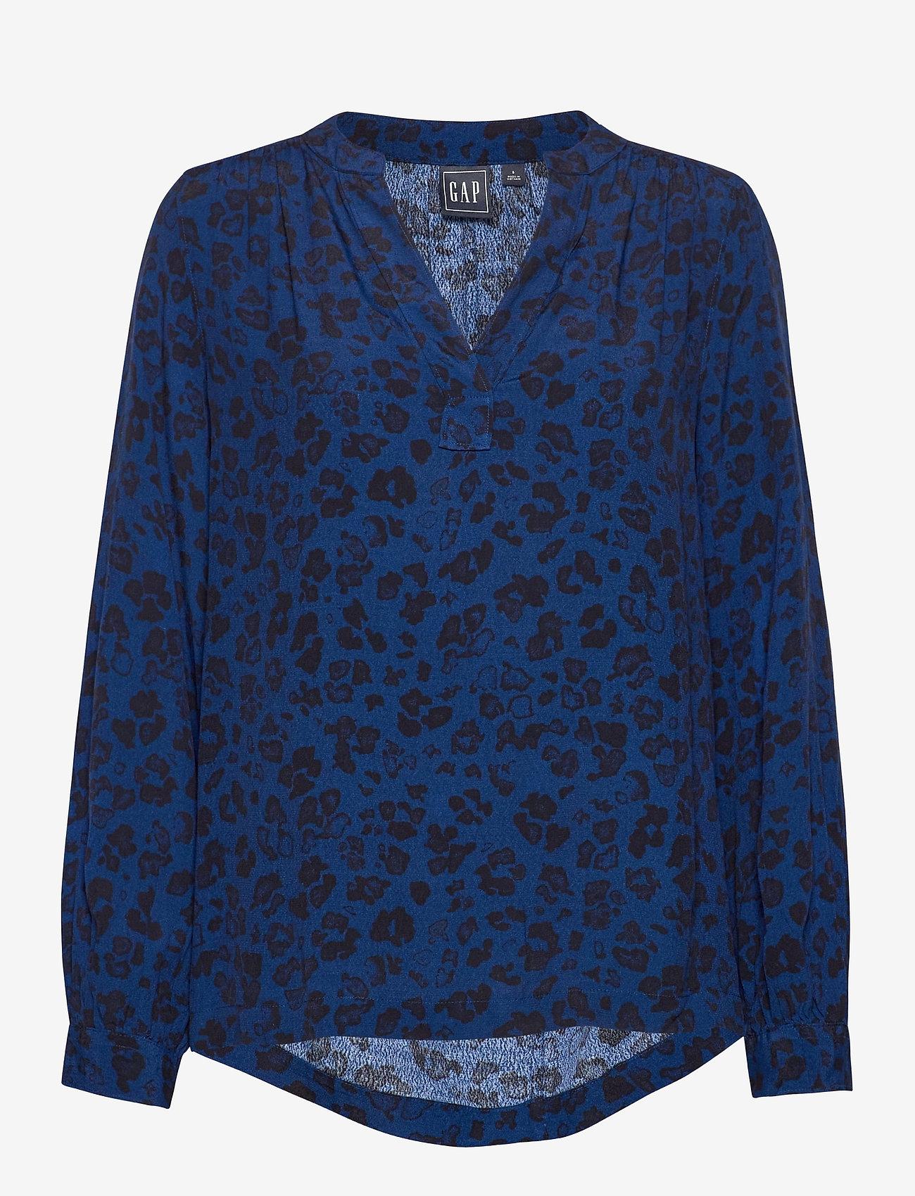 GAP - Shirred Popover Top - long sleeved blouses - blue animal - 0