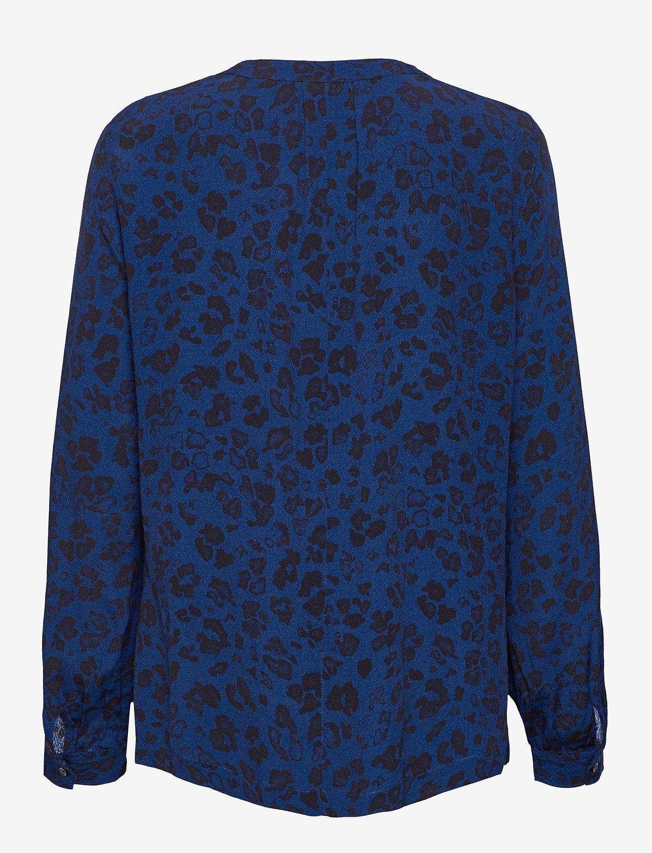 GAP - Shirred Popover Top - long sleeved blouses - blue animal - 1
