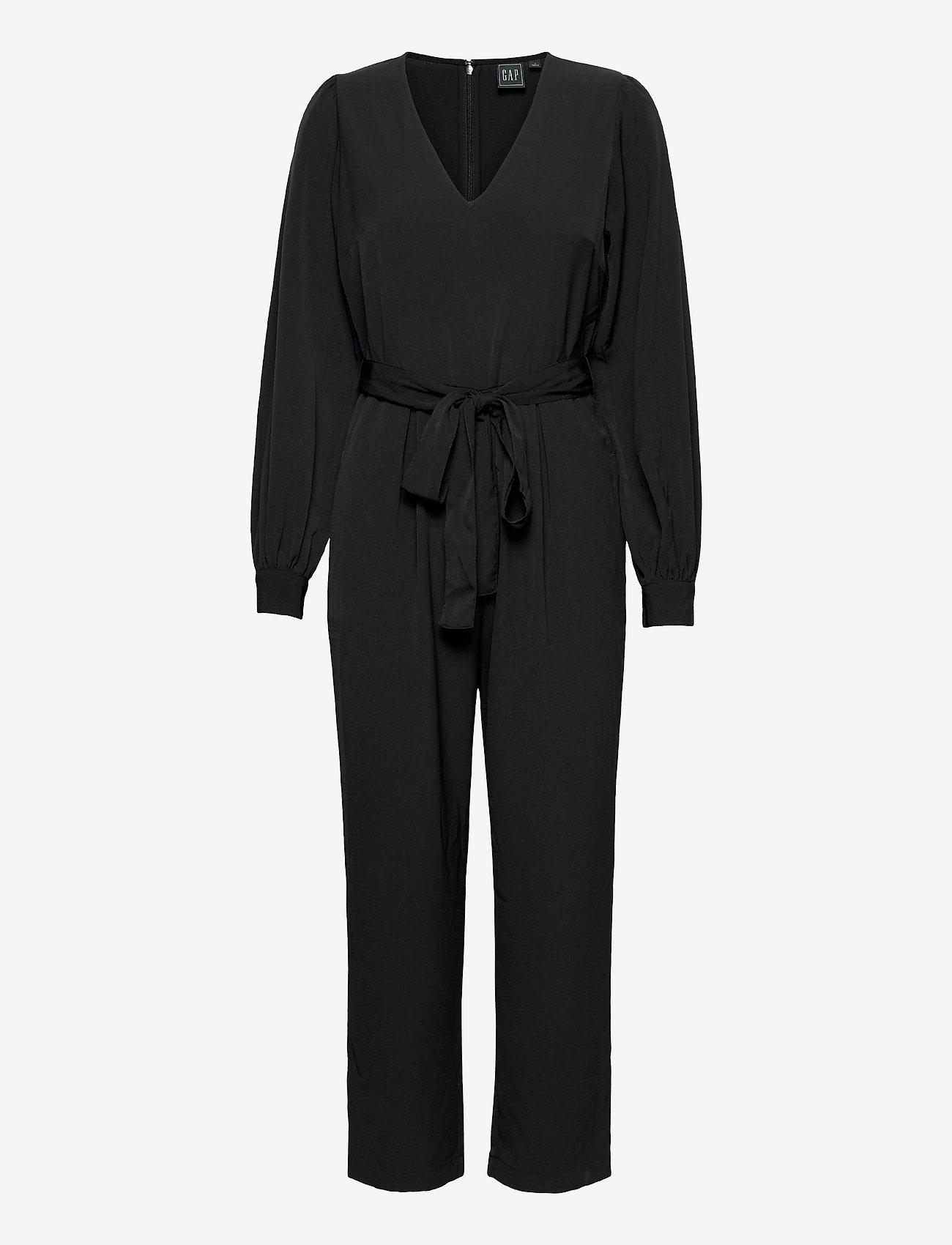 GAP - V-Neck Jumpsuit - jumpsuits - true black - 0