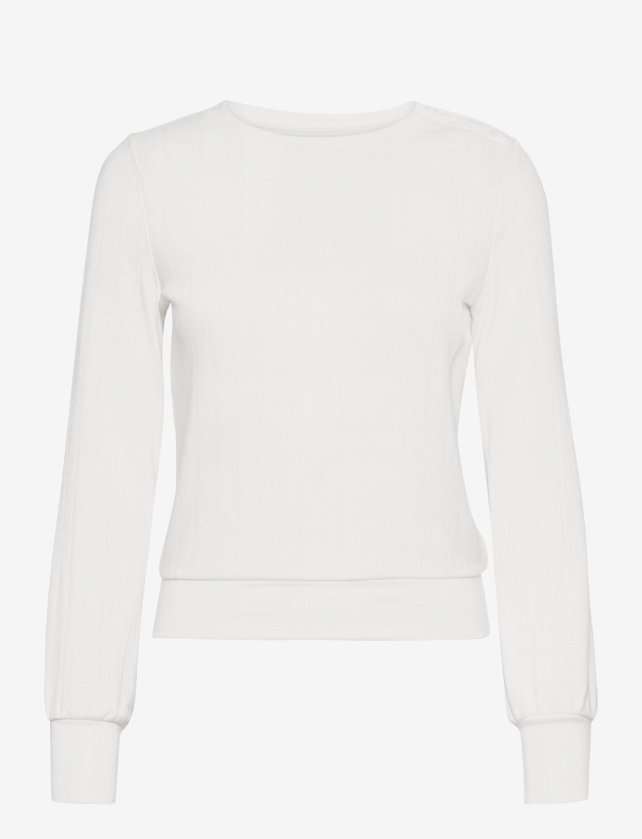 GAP - Cropped Pointelle Crewneck T-Shirt - long-sleeved tops - milk 600 global - 0