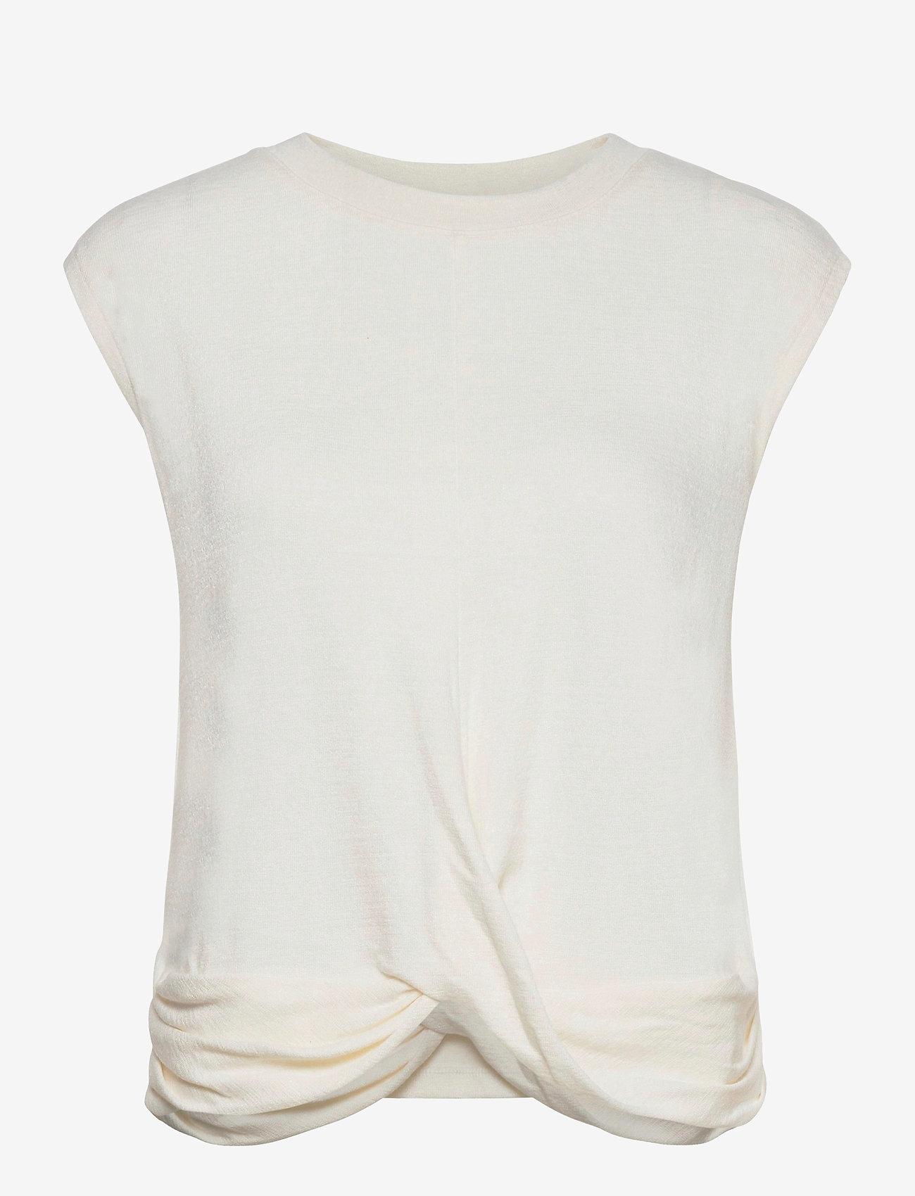 GAP - Softspun Sleeveless Twist-Knot Front T-Shirt - sleeveless tops - ivory frost - 0