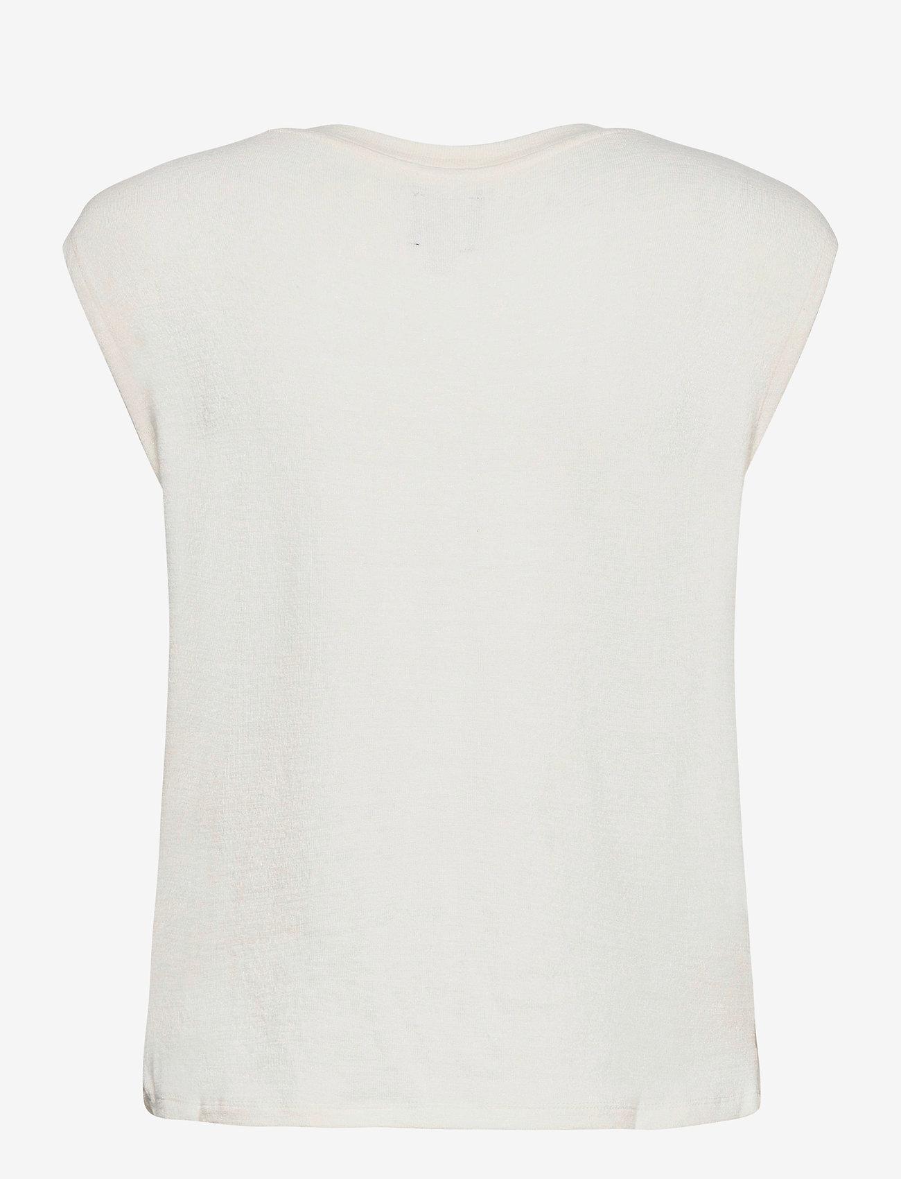 GAP - Softspun Sleeveless Twist-Knot Front T-Shirt - sleeveless tops - ivory frost - 1