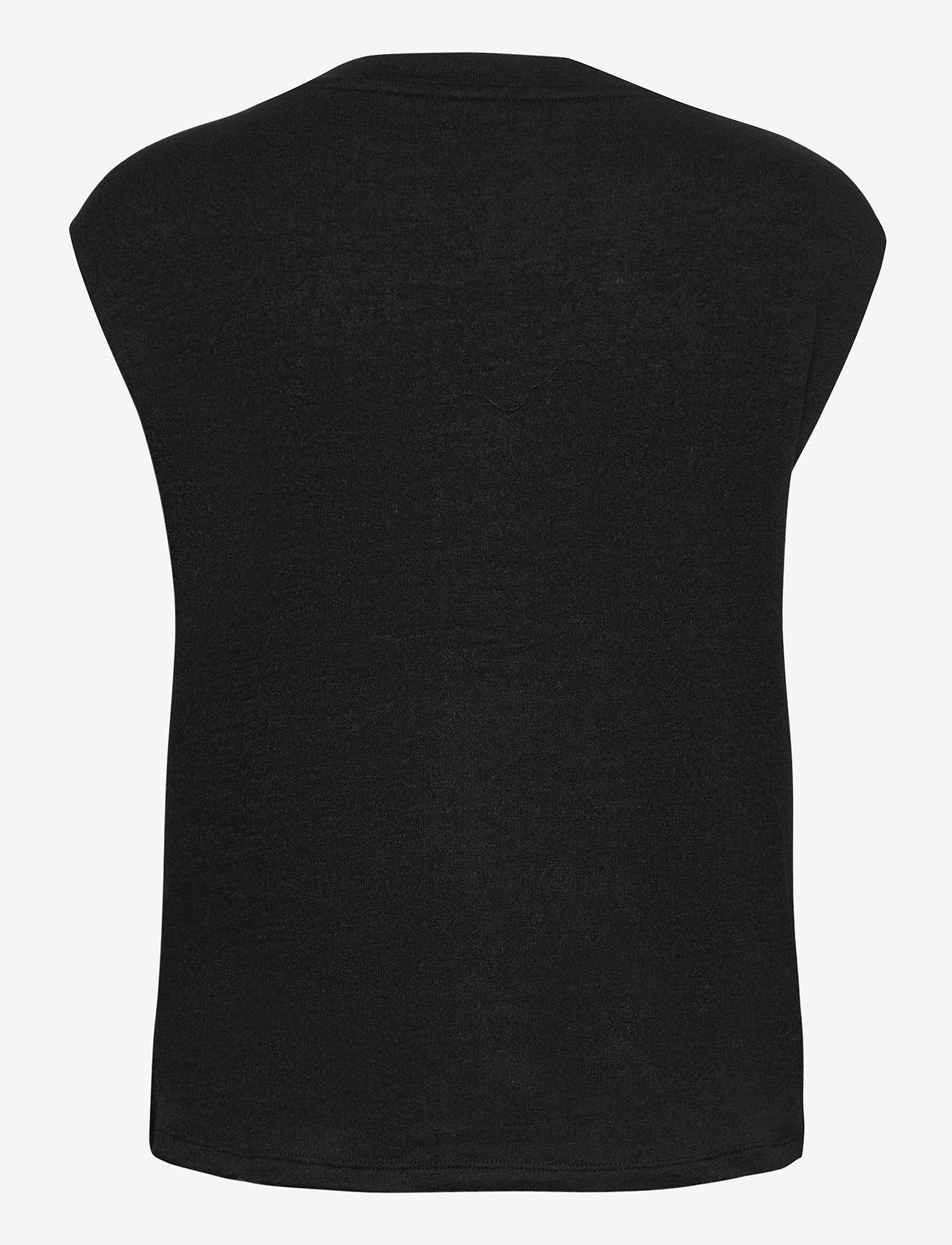 GAP - Softspun Sleeveless Twist-Knot Front T-Shirt - sleeveless tops - true black - 1