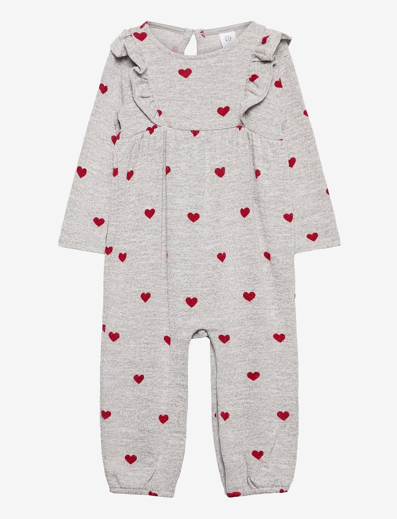 GAP - Baby Softspun Ruffle One-Piece - langärmelig - grey/red - 0