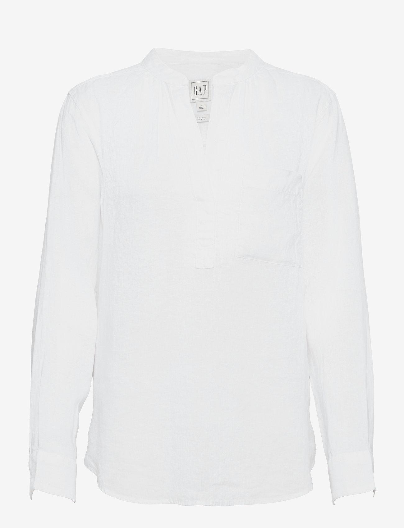 GAP - Linen Popover Shirt - chemises à manches longues - fresh white - 0