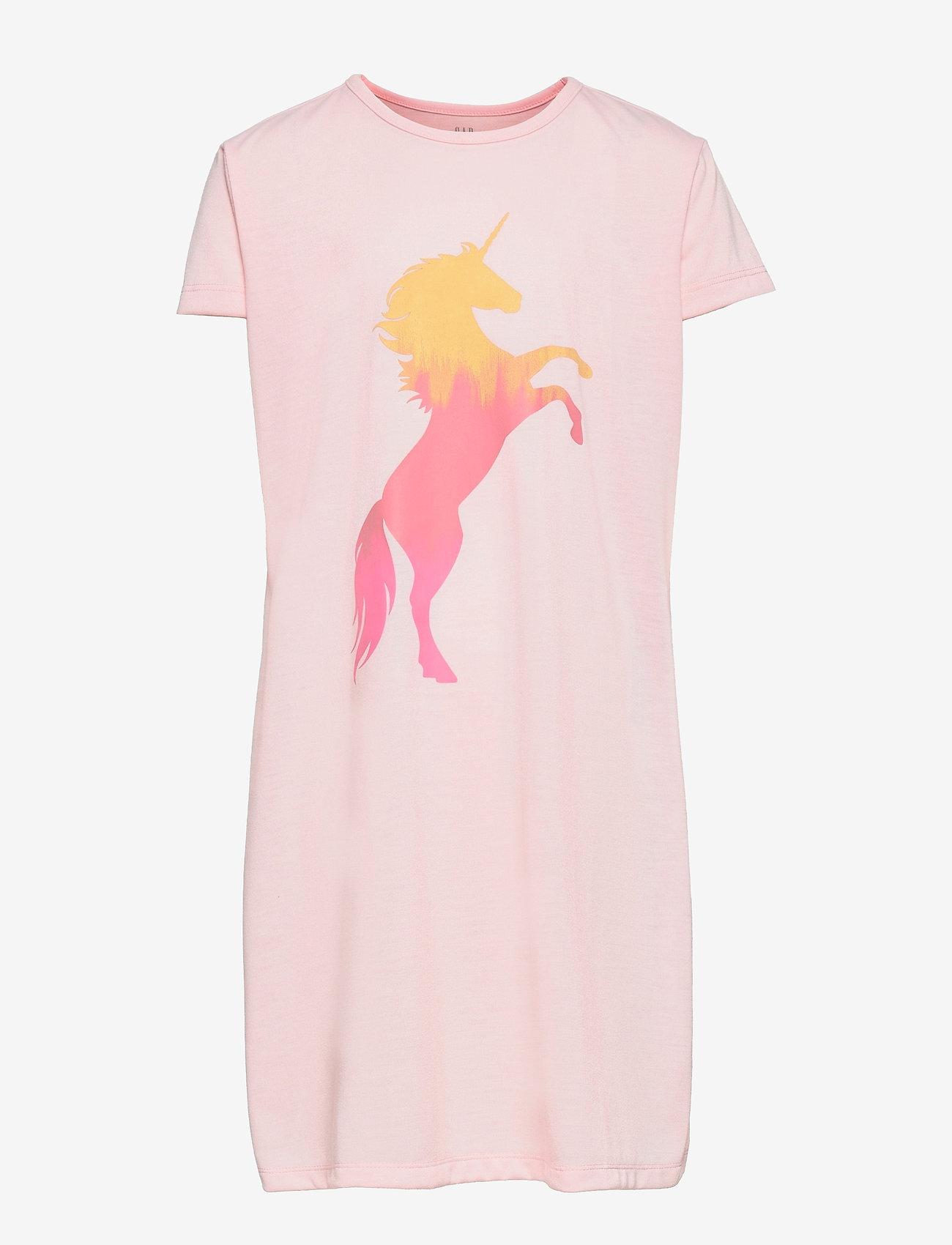 GAP - Kids 100% Recycled Polyester Unicorn PJ Dress - nat- & undertøj - spring pink - 0