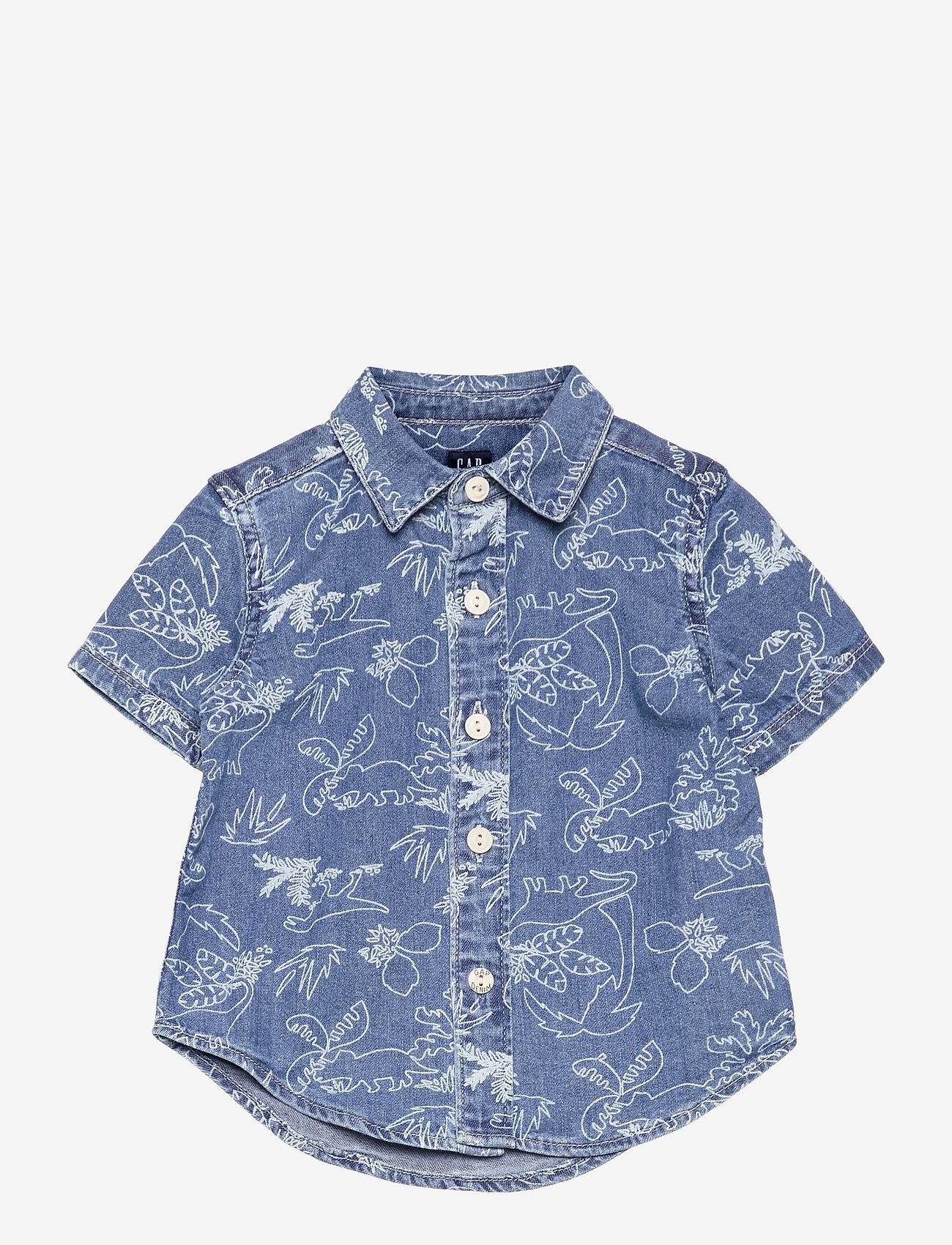 GAP - Toddler Denim Dinosaur Graphic Shirt - shirts - medium wash - 0