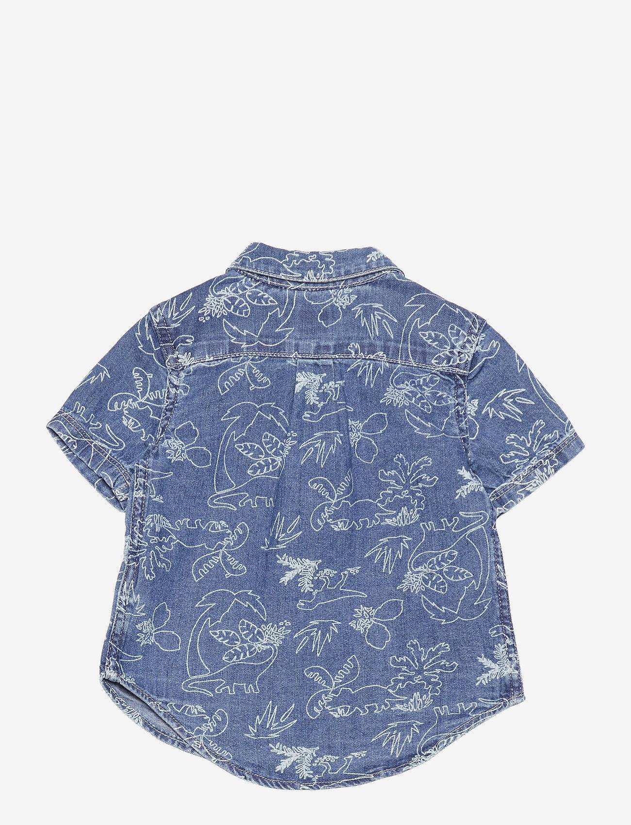 GAP - Toddler Denim Dinosaur Graphic Shirt - shirts - medium wash - 1