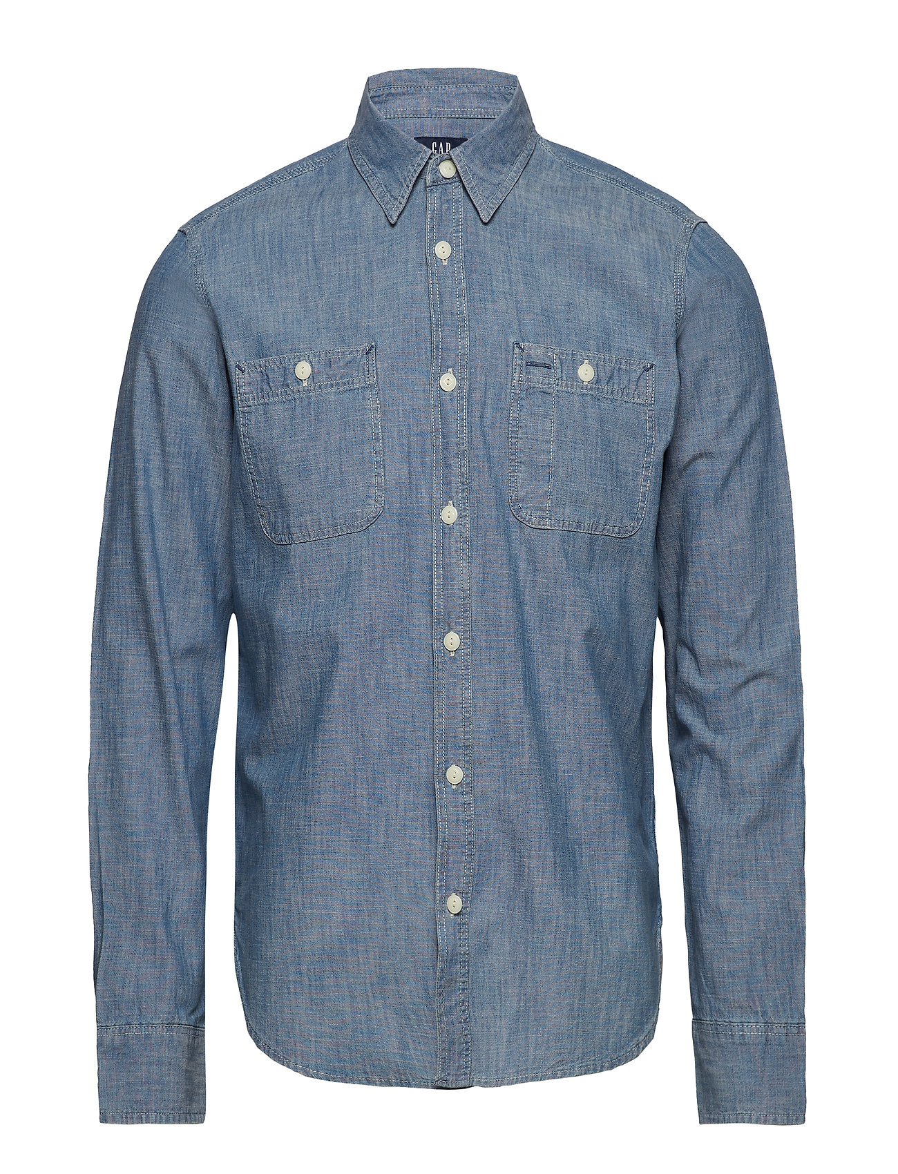 GAP Icon Chambray Worker Shirt - MEDIUM CHAMBRAY