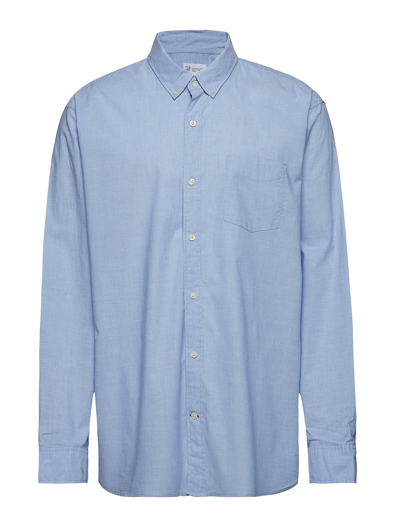 GAP Lived-In True Wash Poplin Shirt - LIGHT BLUE
