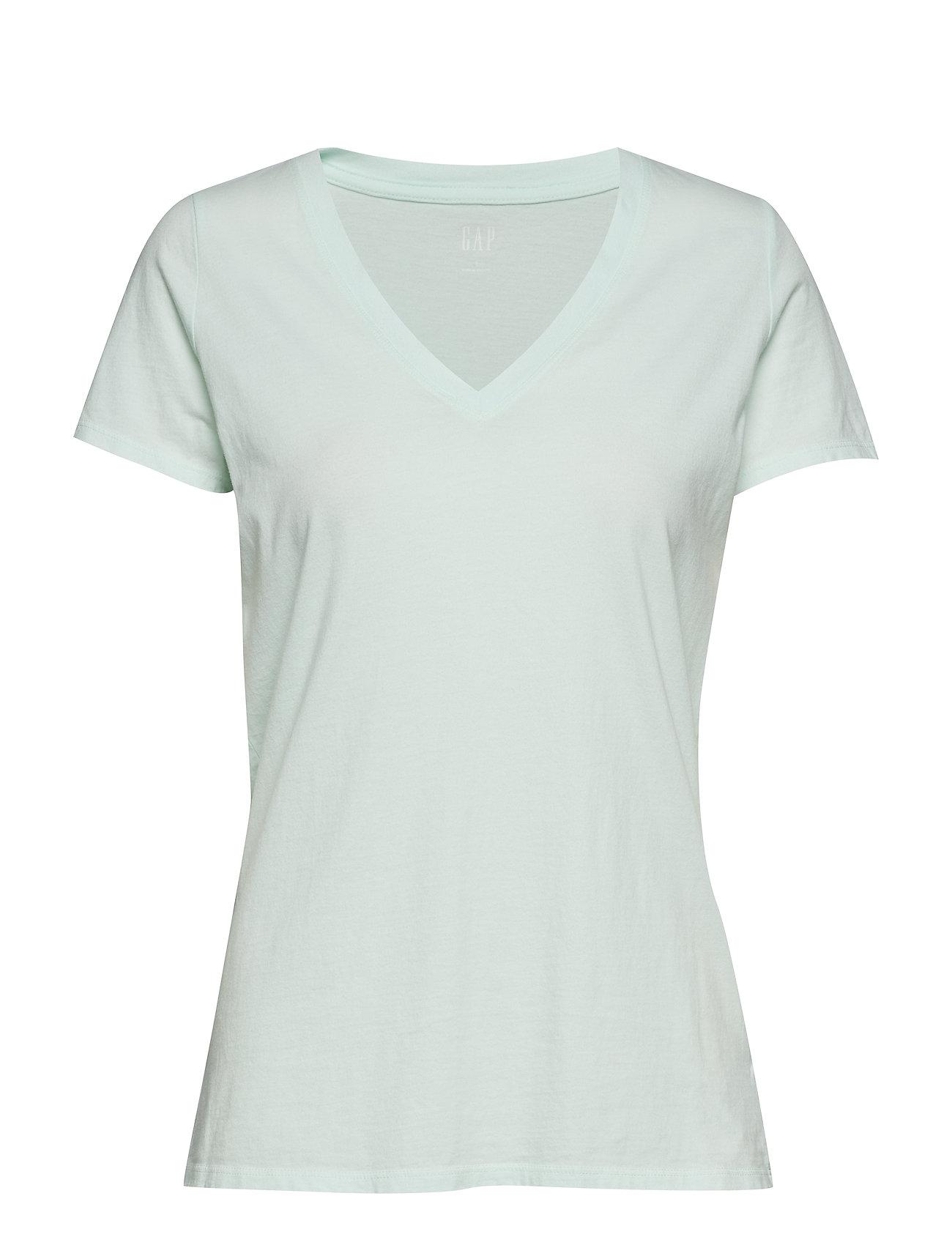 Vintage Wash V Neck T Shirt T shirt Top Grøn GAP