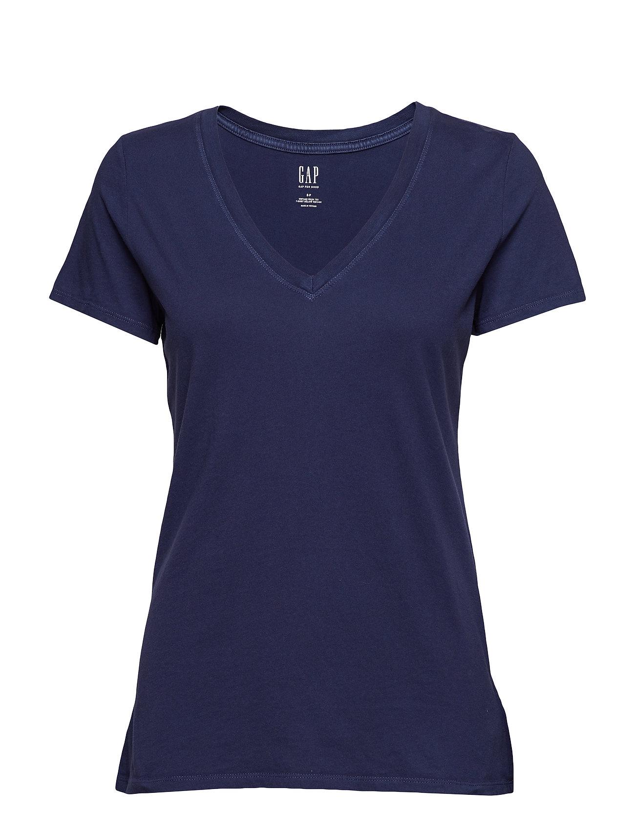 GAP Vintage Wash V-Neck T-Shirt - NAVY UNIFORM
