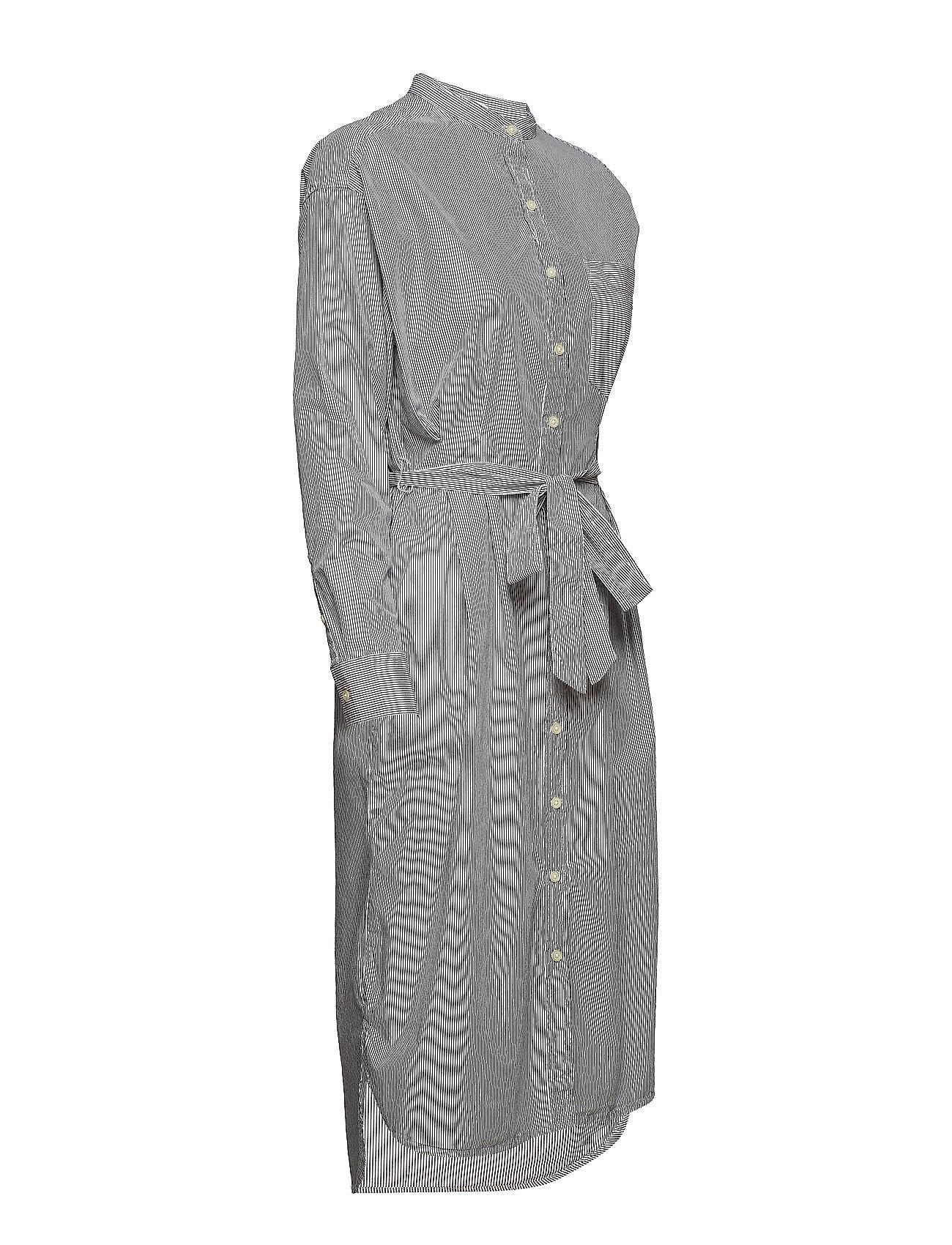 GAP    Perfect Long Sleeve Tie-Belt Shirtdress  - Kleider    BLACK/WHITE STRP - J