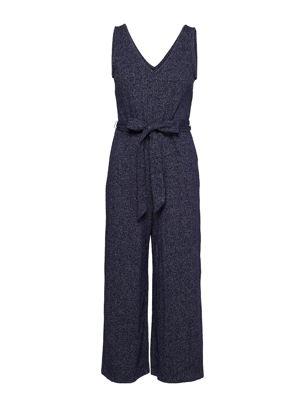 GAP Sleeveless Ribbed Knit V-Neck Jumpsuit - NAVY UNIFORM