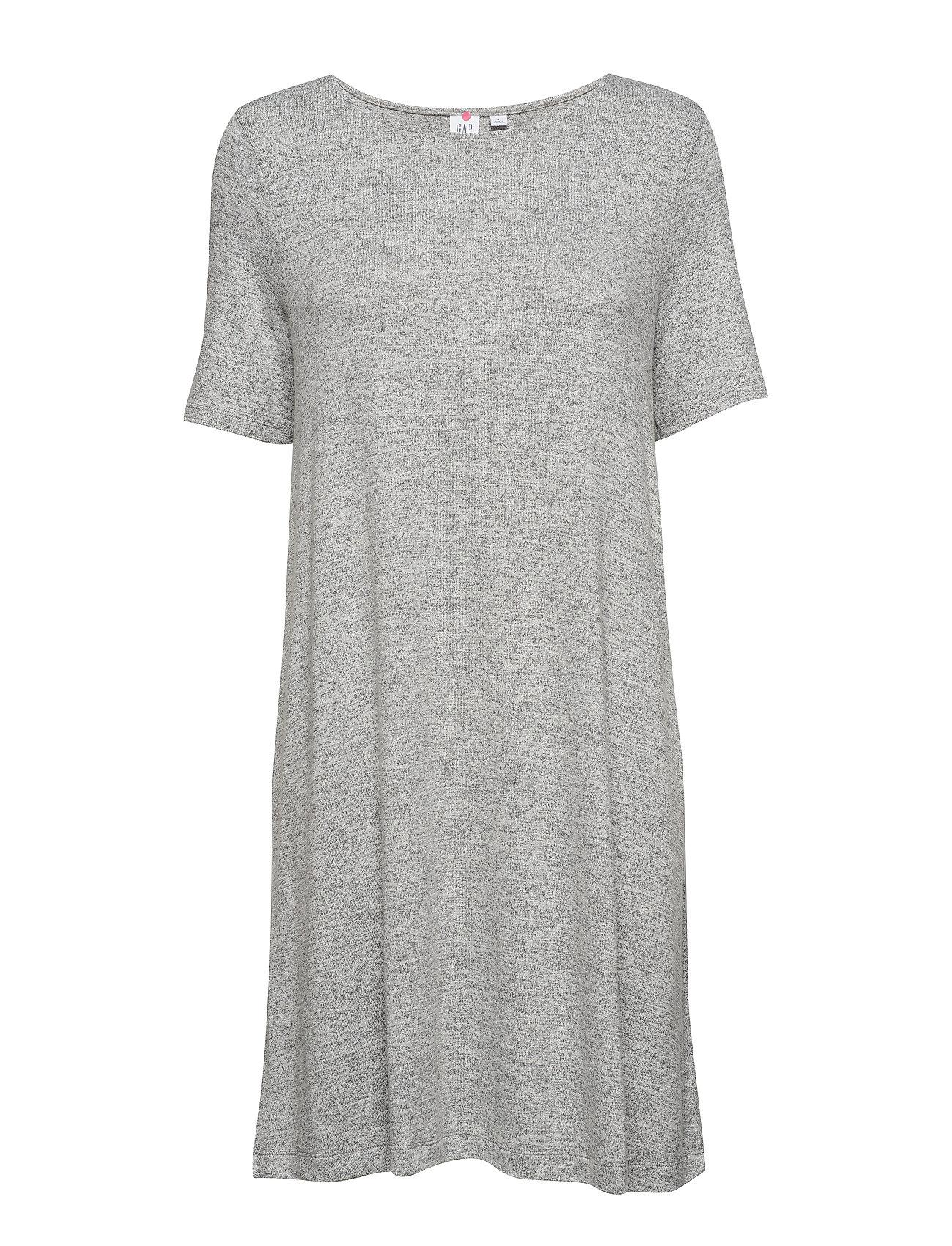 GAP Softspun Short Sleeve Swing Dress - LIGHT GREY MARLE