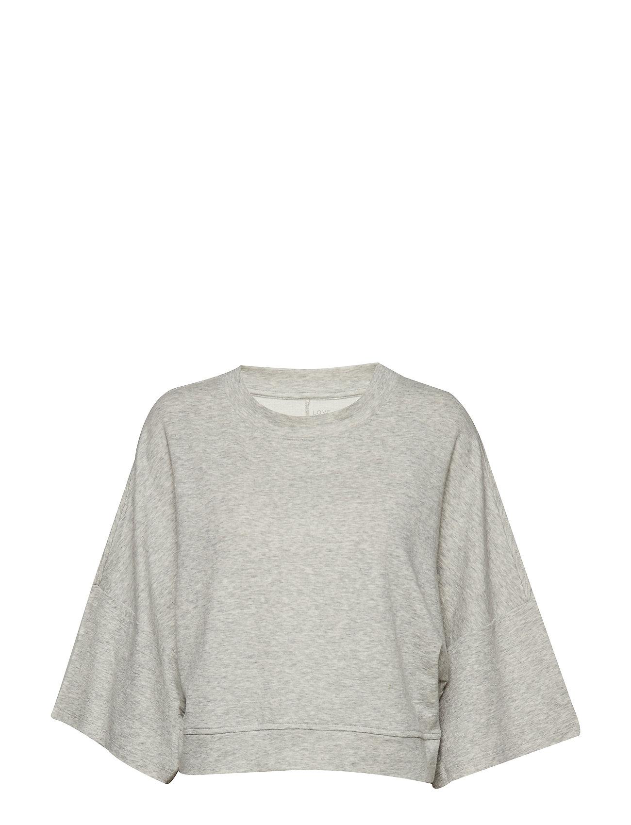 GAP Double Knit Wide-Sleeve Crop Pullover Sweatshirt - LIGHT HEATHER GREY