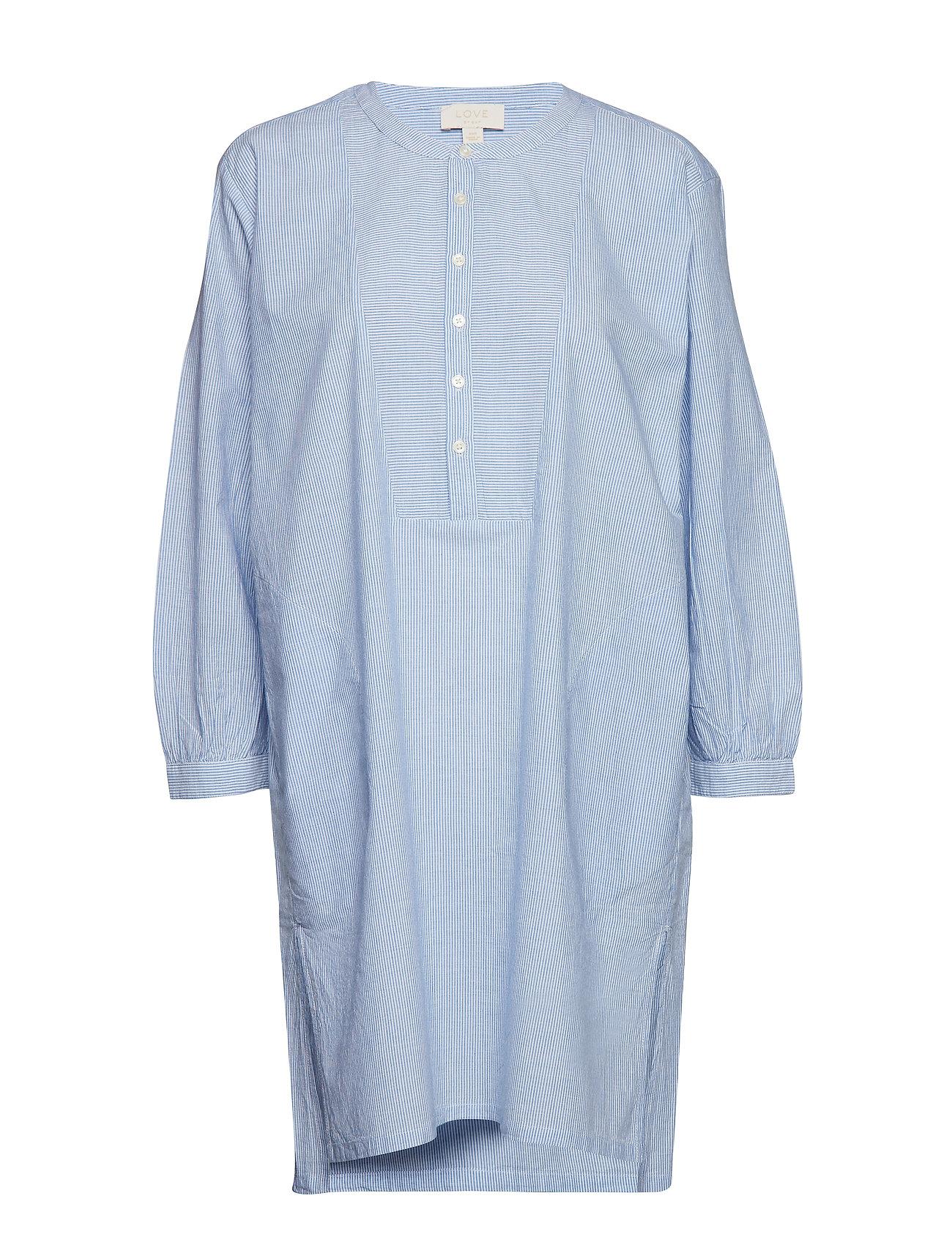 GAP Dreamwell Stripe Bib-Front Shirtdress - BLUE/WHITE STRIPE