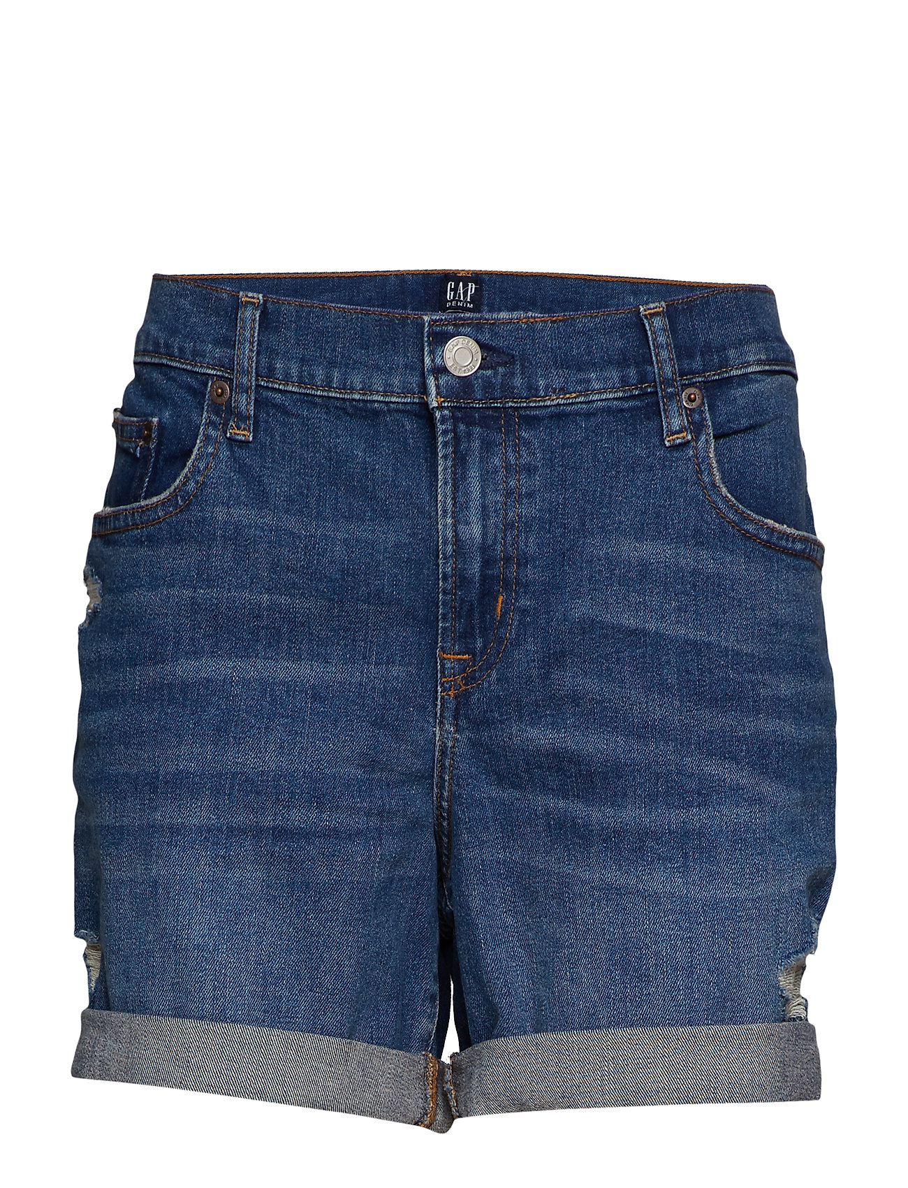 "GAP Mid Rise 5"" Denim Shorts with Distressed Detail - MEDIUM DESTROY"