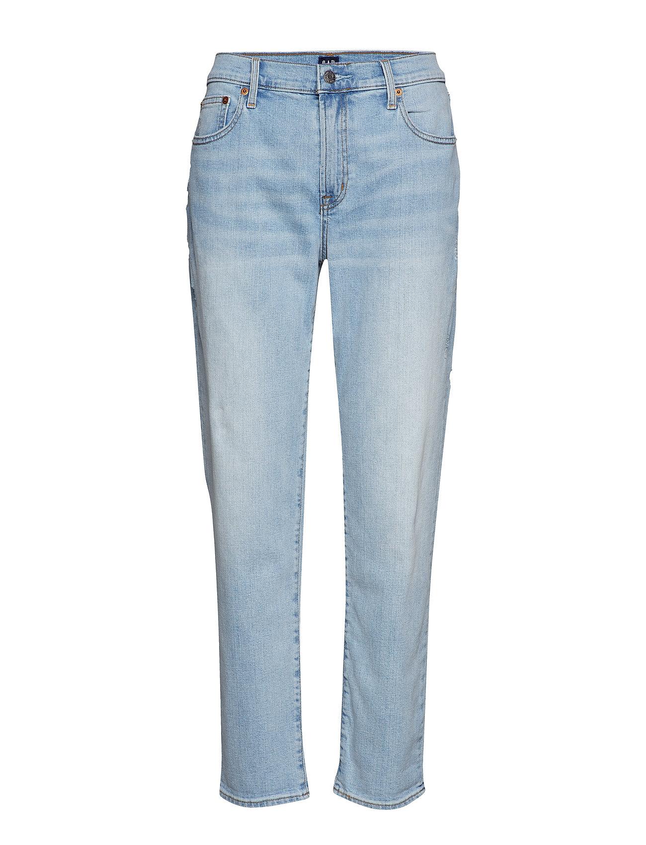 GAP Mid Rise Girlfriend Jeans - LIGHT DESTROY