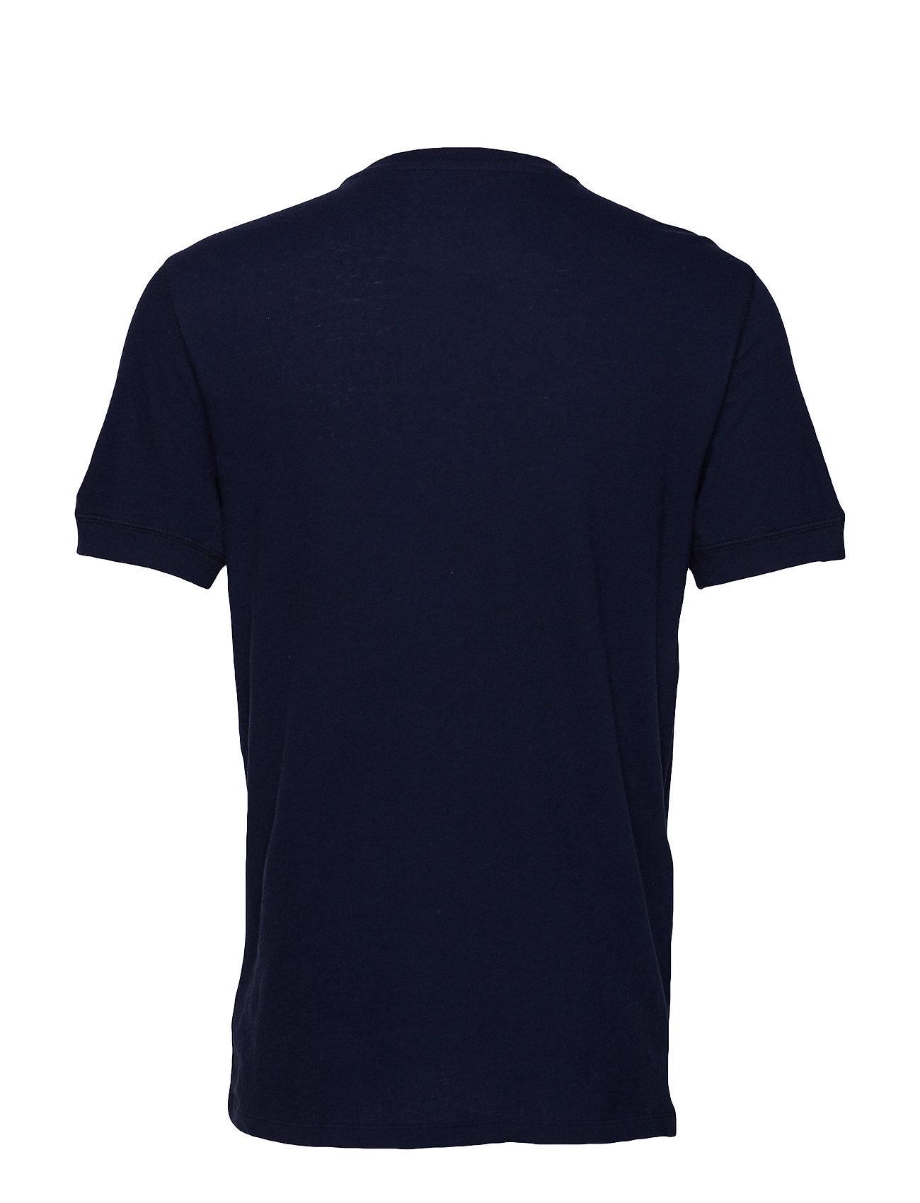 Short Sleeve Henley In Cotton Linen T shirt Blå GAP