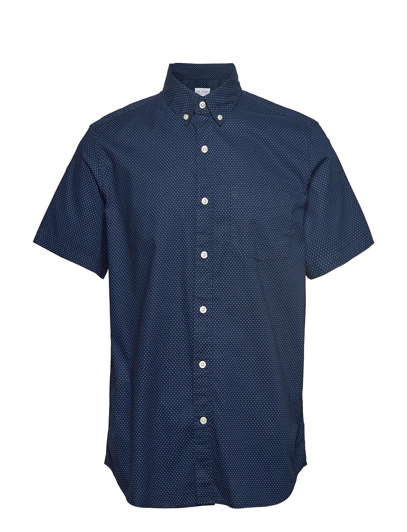 GAP Lived-In Stretch Poplin Short Sleeve Shirt - BLUE DOT
