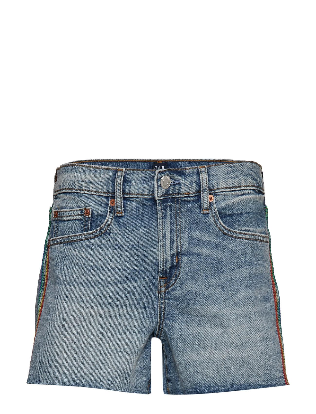 """GAP Gap + Pride Mid Rise 3"""" Embroidered Denim Shorts - MEDIUM INDIGO 8"""
