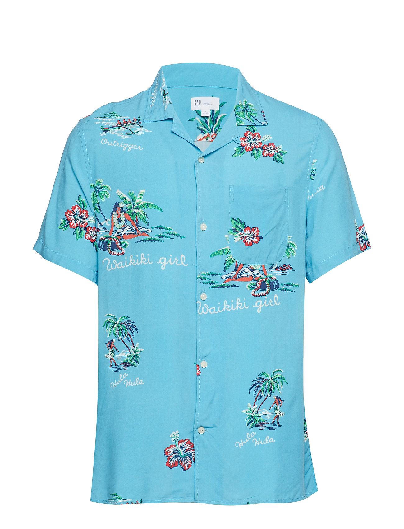 GAP Print Camp Shirt - AQUA BLUE SKY PRINT