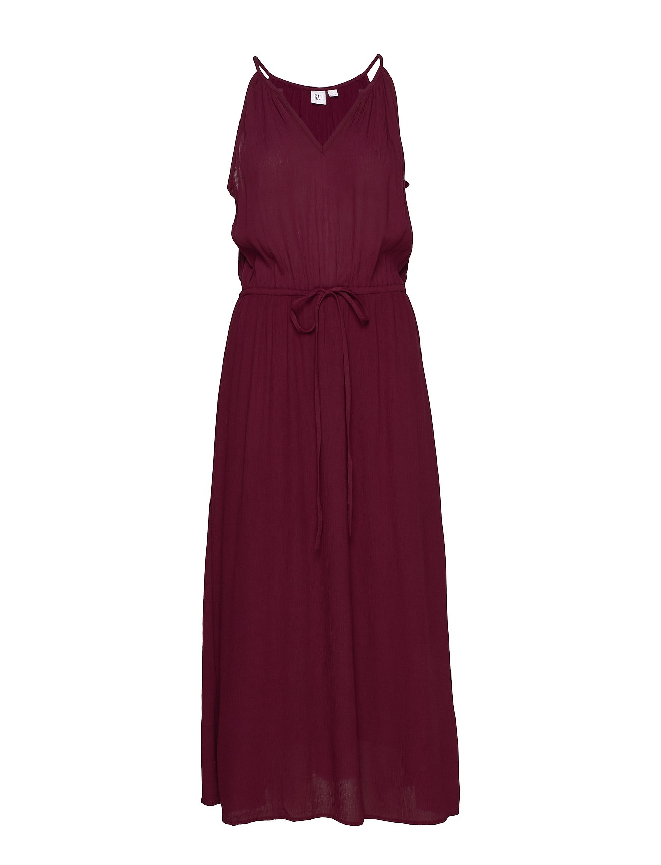GAP Crinkle Halter Midi Dress - RUBY WINE
