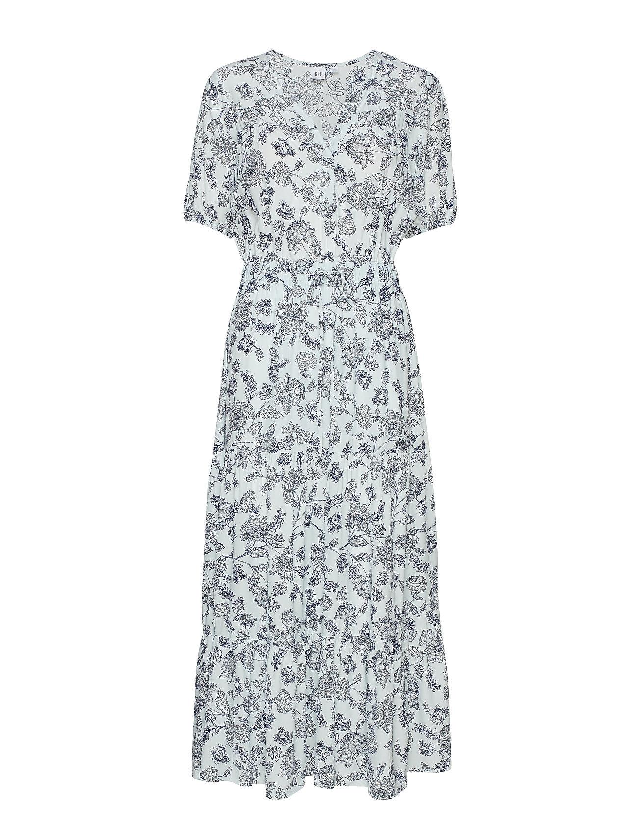GAP Print Split-Neck Tiered Maxi Dress - BLUE FLORAL