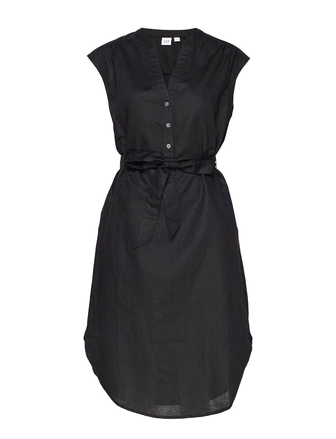 GAP Popover Cap Sleeve Shirtdress in Linen-Cotton - TRUE BLACK V2 2