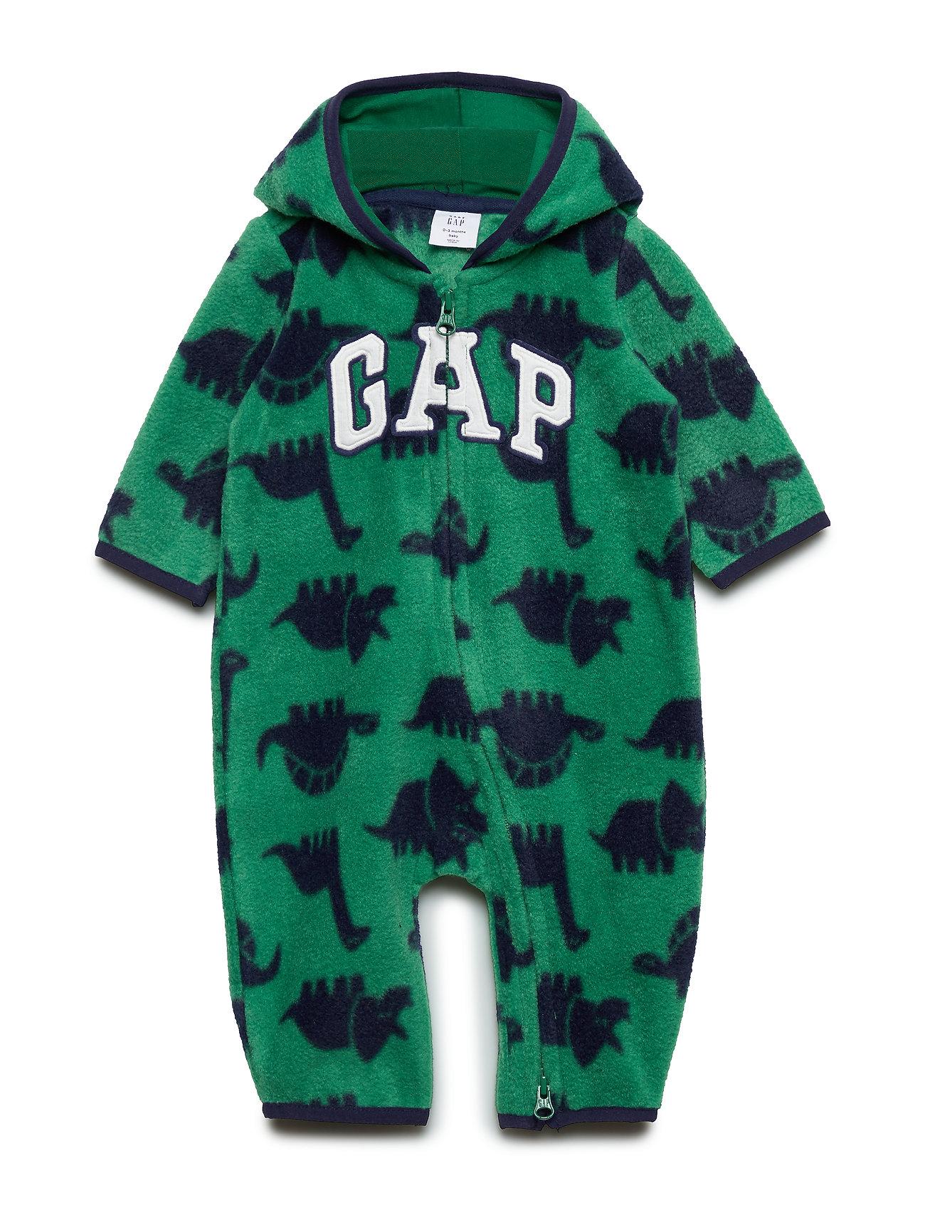 GAP Baby Gap Logo Print One-Piece - PRESIDENT GREEN