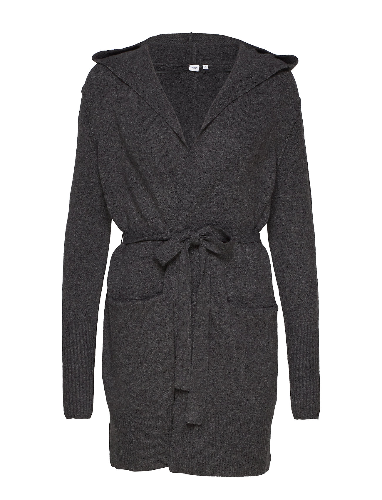 GAP Boucle Longline Hooded Cardigan Sweater - CHARCOAL HEATHER