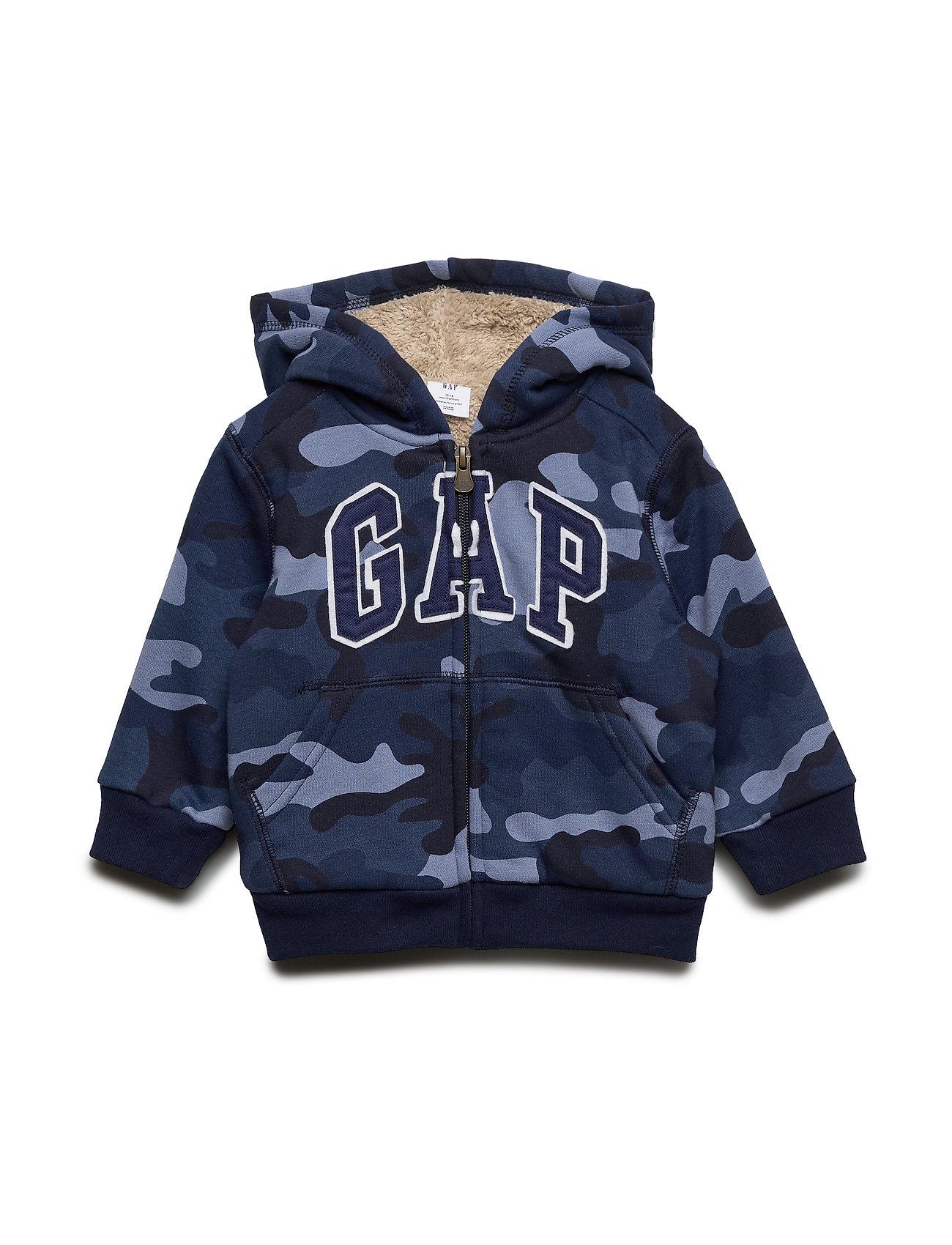 GAP Toddler Gap Logo Sherpa Sweatshirt - BLUE CAMO