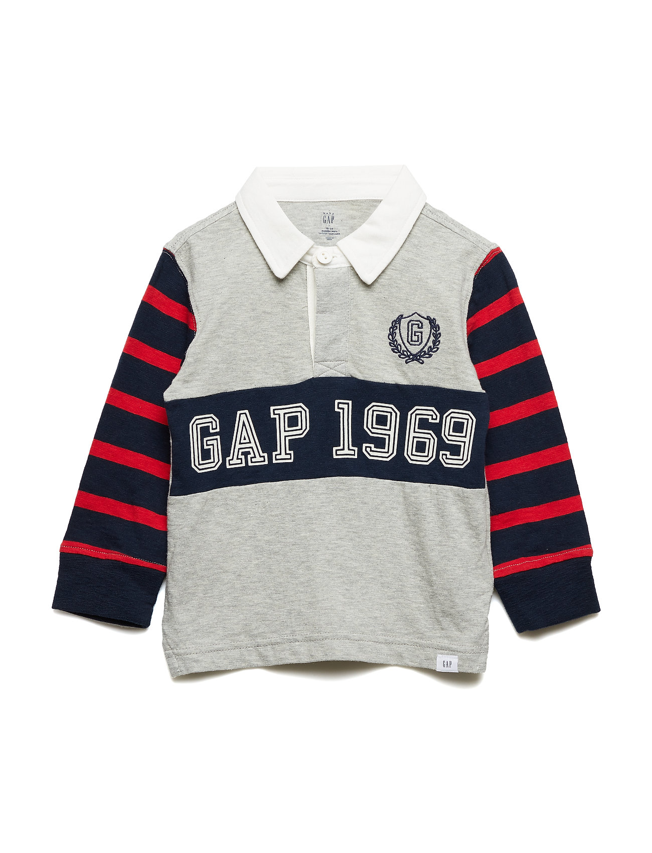 GAP Toddler Embroidered Patch Polo Shirt - LIGHT HEATHER GREY B08