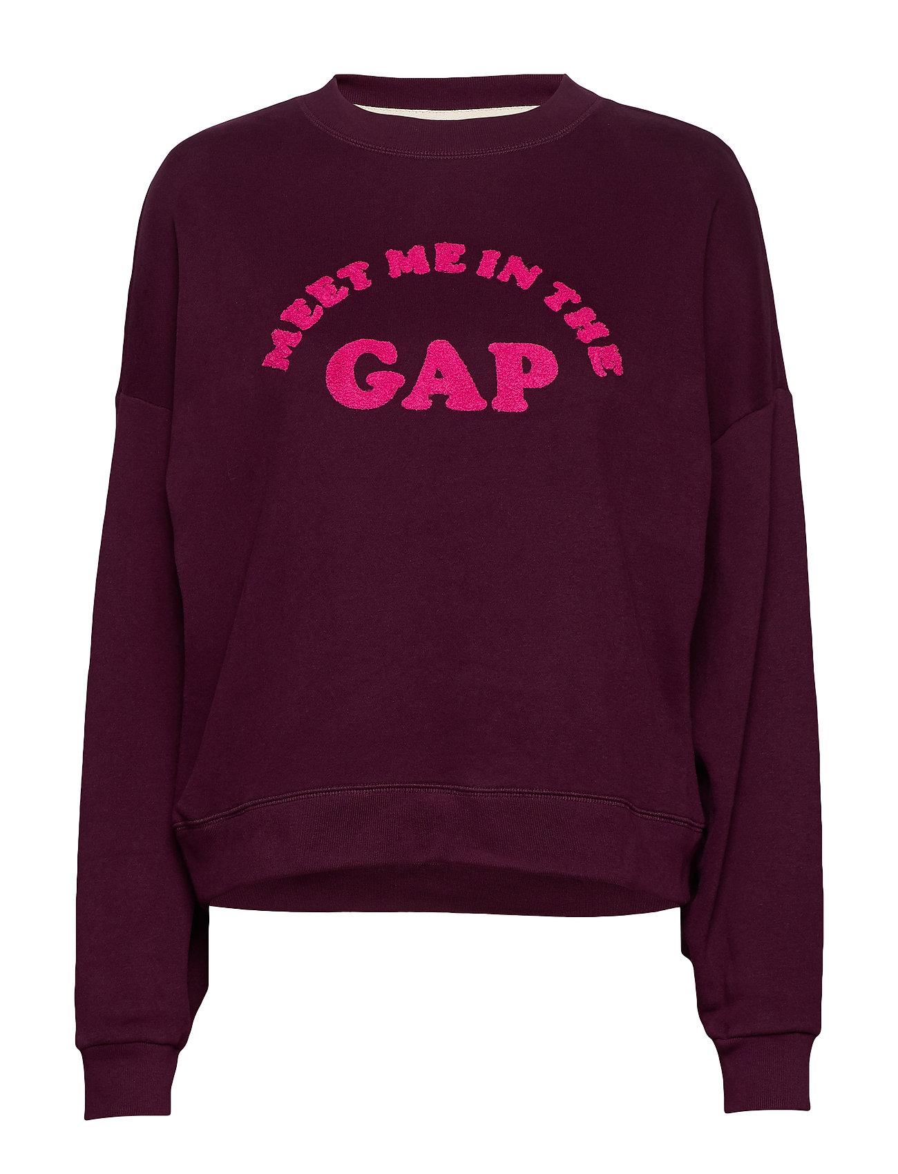 GAP Gap Flocked Logo Crewneck Sweatshirt - SECRET PLUM