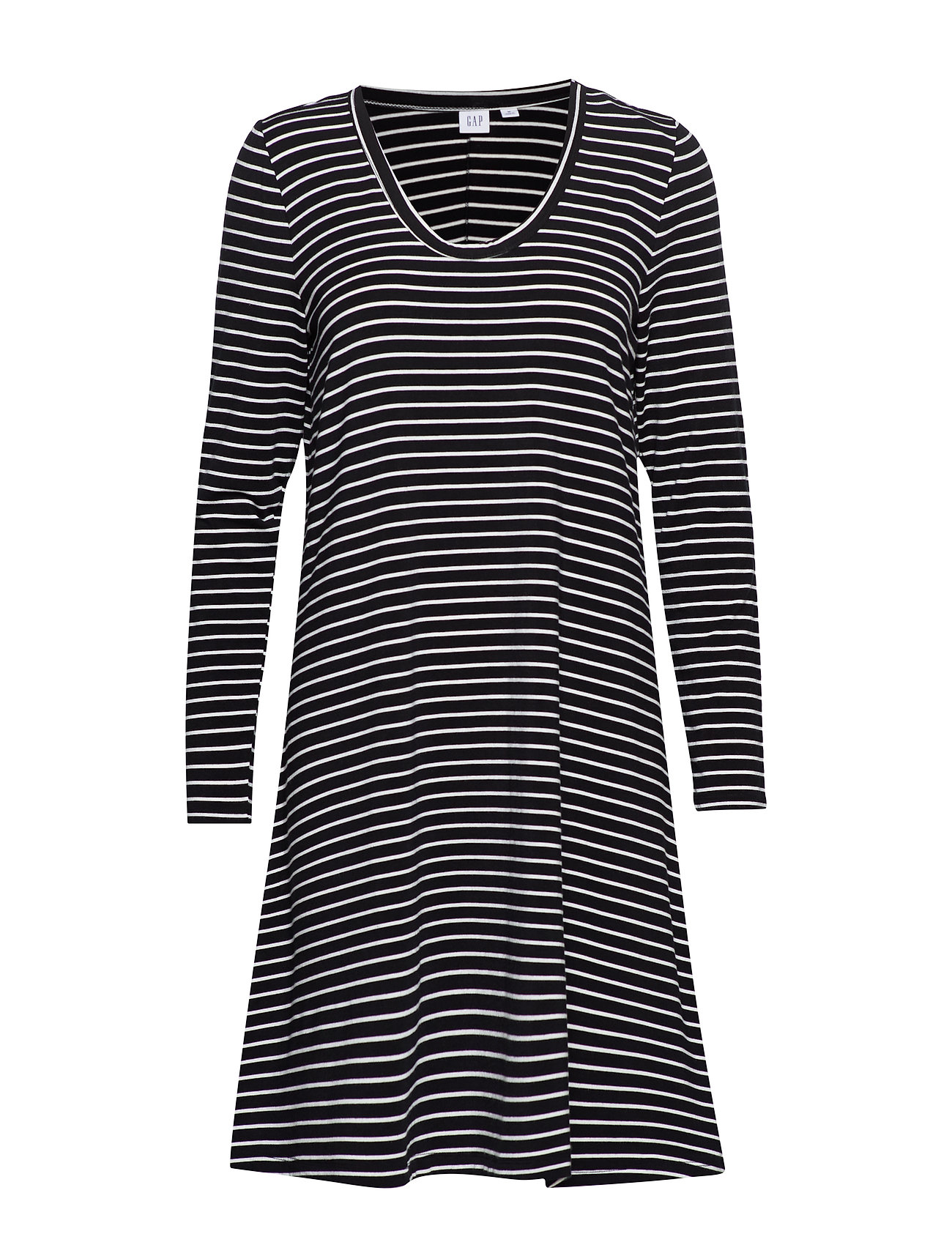 GAP U-Neck Swing Dress - BLACK/WHITE STRP - J