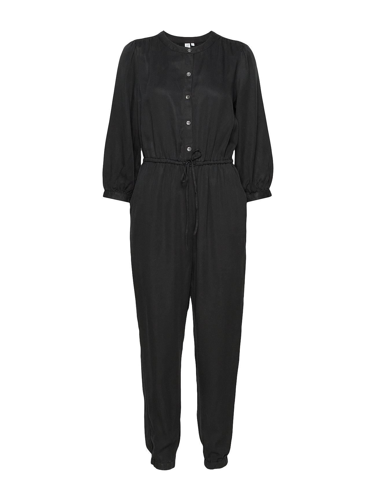 GAP Blouson Sleeve Jumpsuit in TENCEL™ - TRUE BLACK V2 2