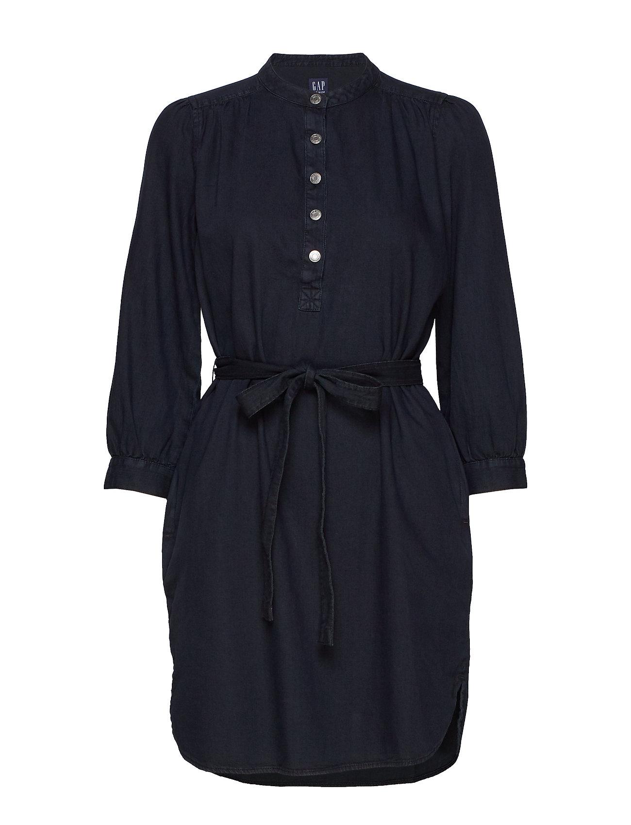 GAP Shirred Popover Denim Shirtdress - BLACK WASH