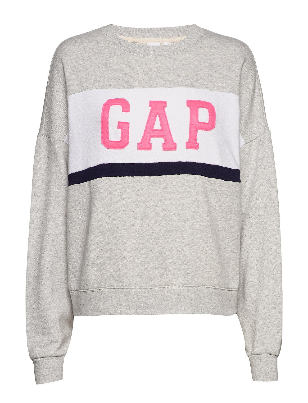 GAP Gap Logo Colorblock Crewneck Sweatshirt - LIGHT HEATHER GREY