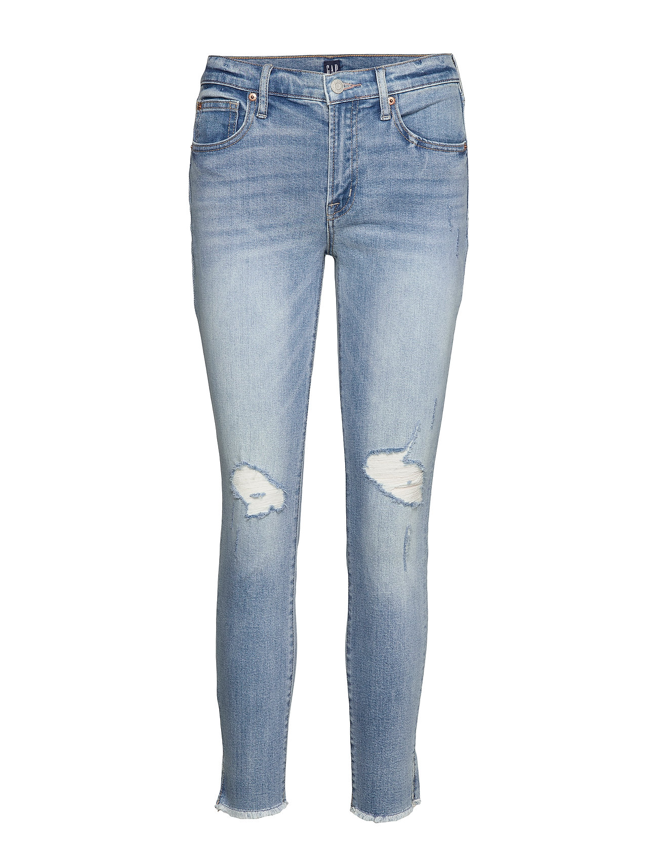 GAP Mid Rise Distressed True Skinny Ankle Jeans - LIGHT DESTROY