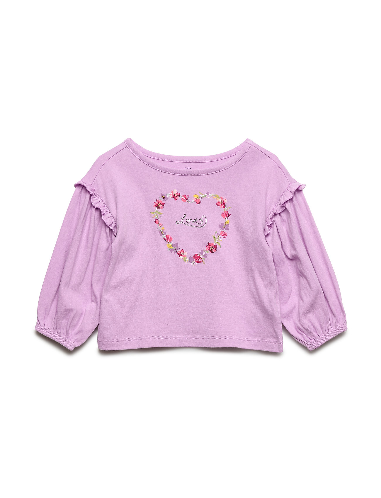 Image of Toddler Ruffle-Sleeve Graphic T-Shirt Langærmet T-shirt Lilla GAP (3230588755)