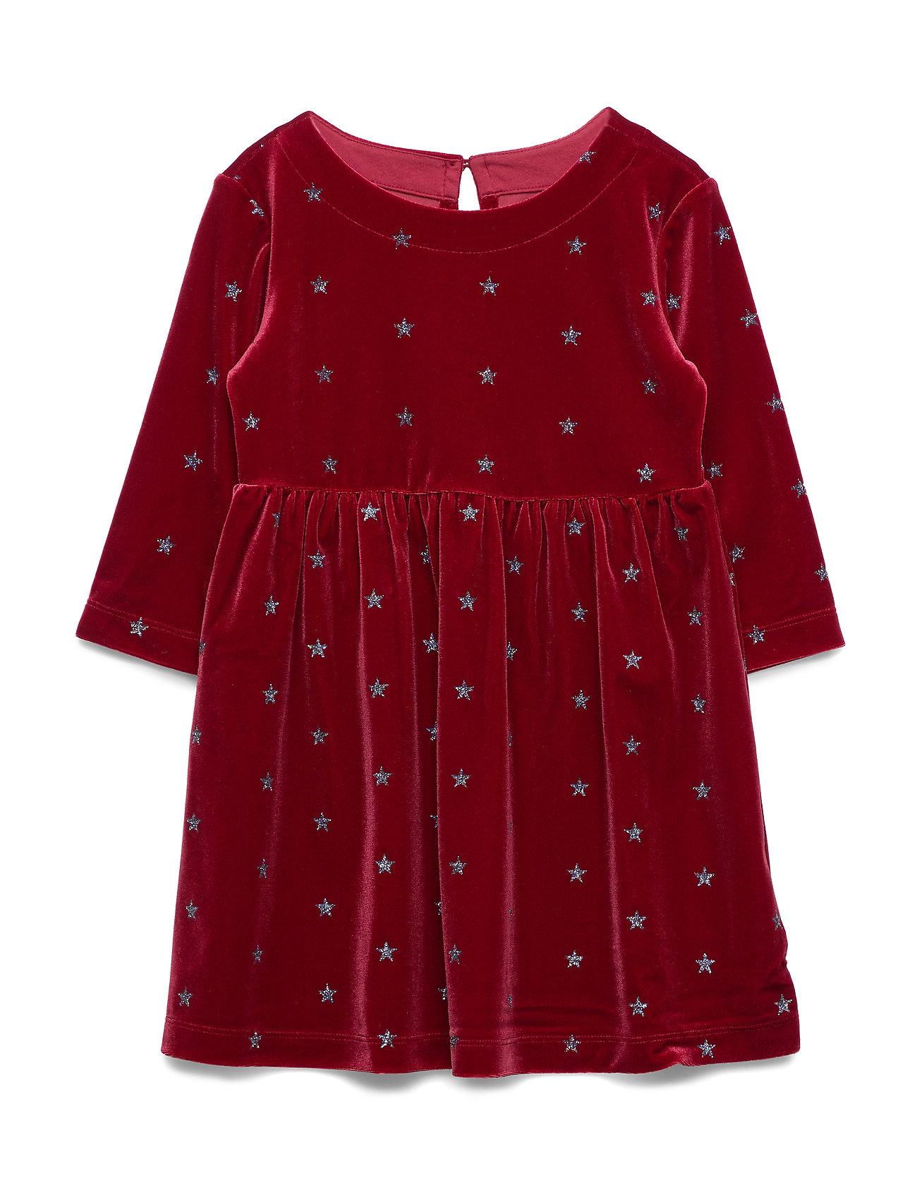GAP Kids Glitter Star Velvet Dress - LIGHT ROSEWOOD