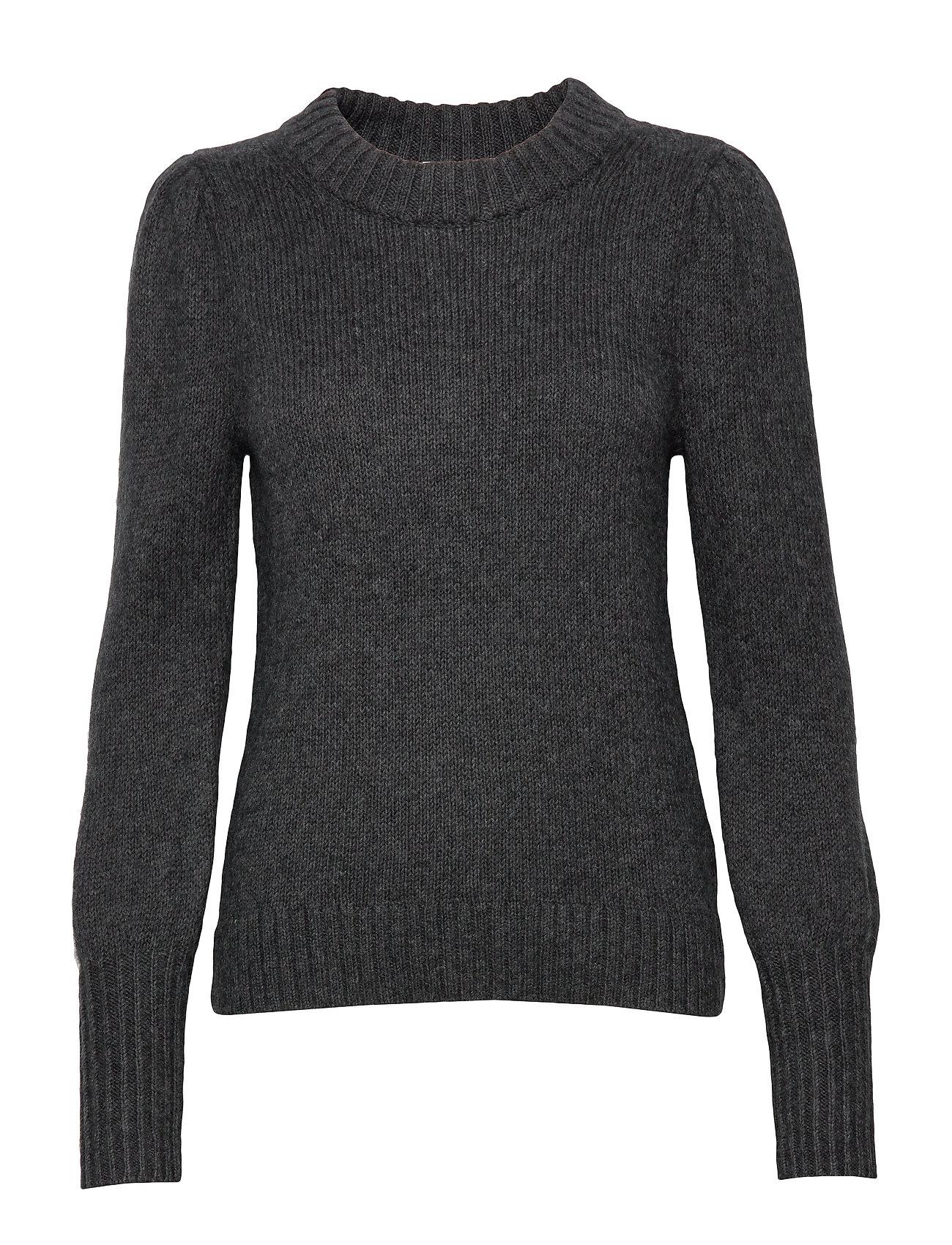 GAP Puff Sleeve Crewneck Sweater - CHARCOAL HEATHER